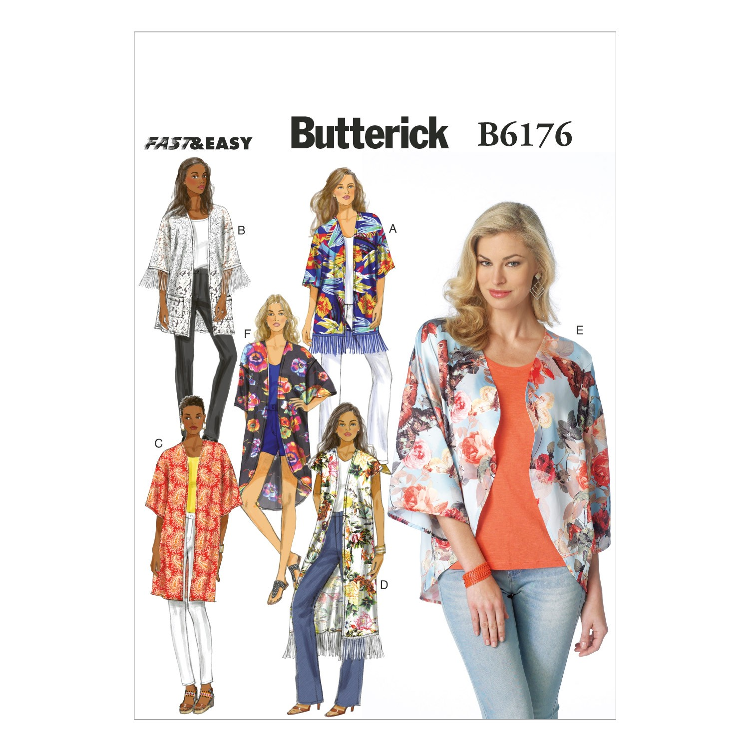 Butterick Sewing Pattern 6176 Misses' Japanese Kimono Style Top