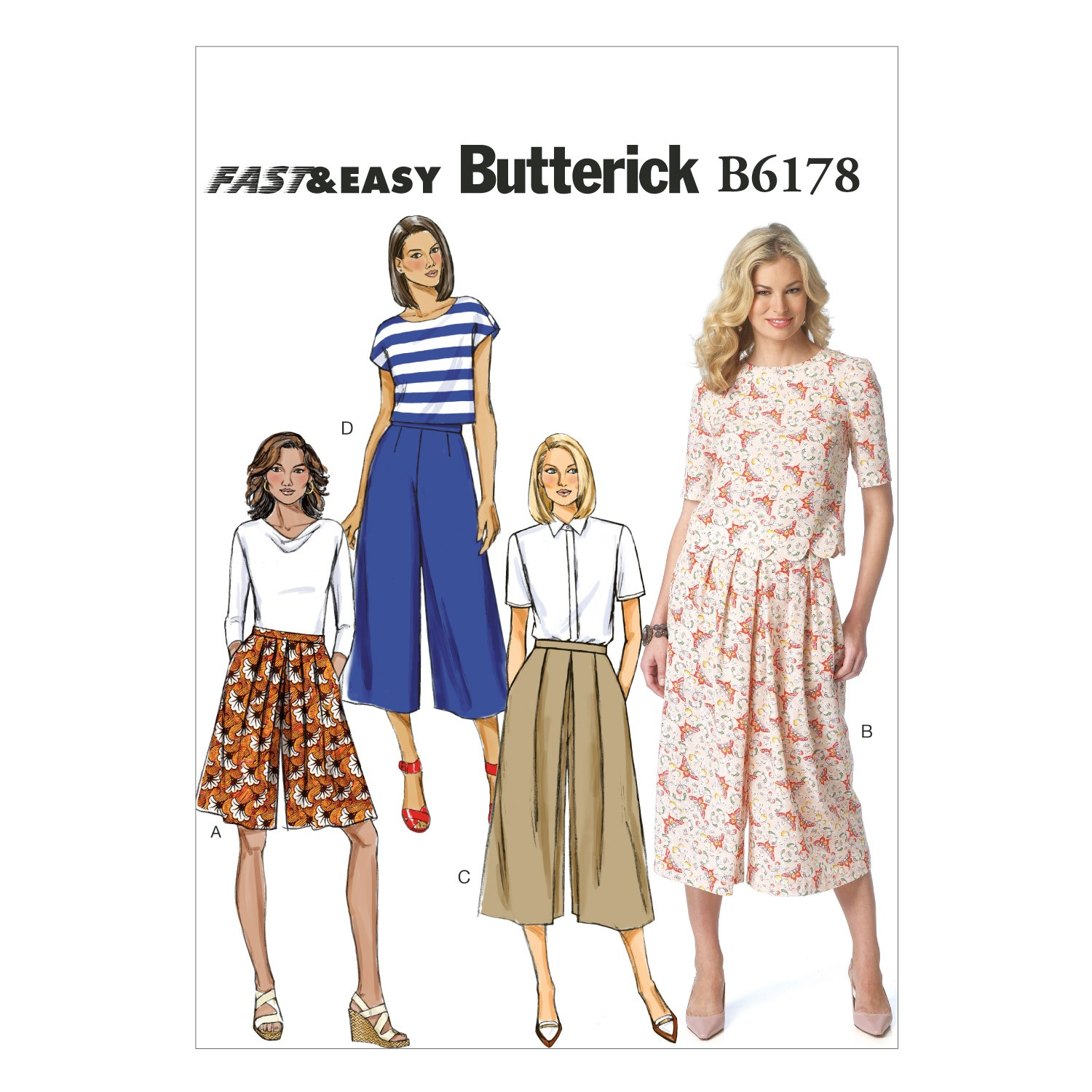 Butterick Sewing Pattern 6178 Misses' Culottes