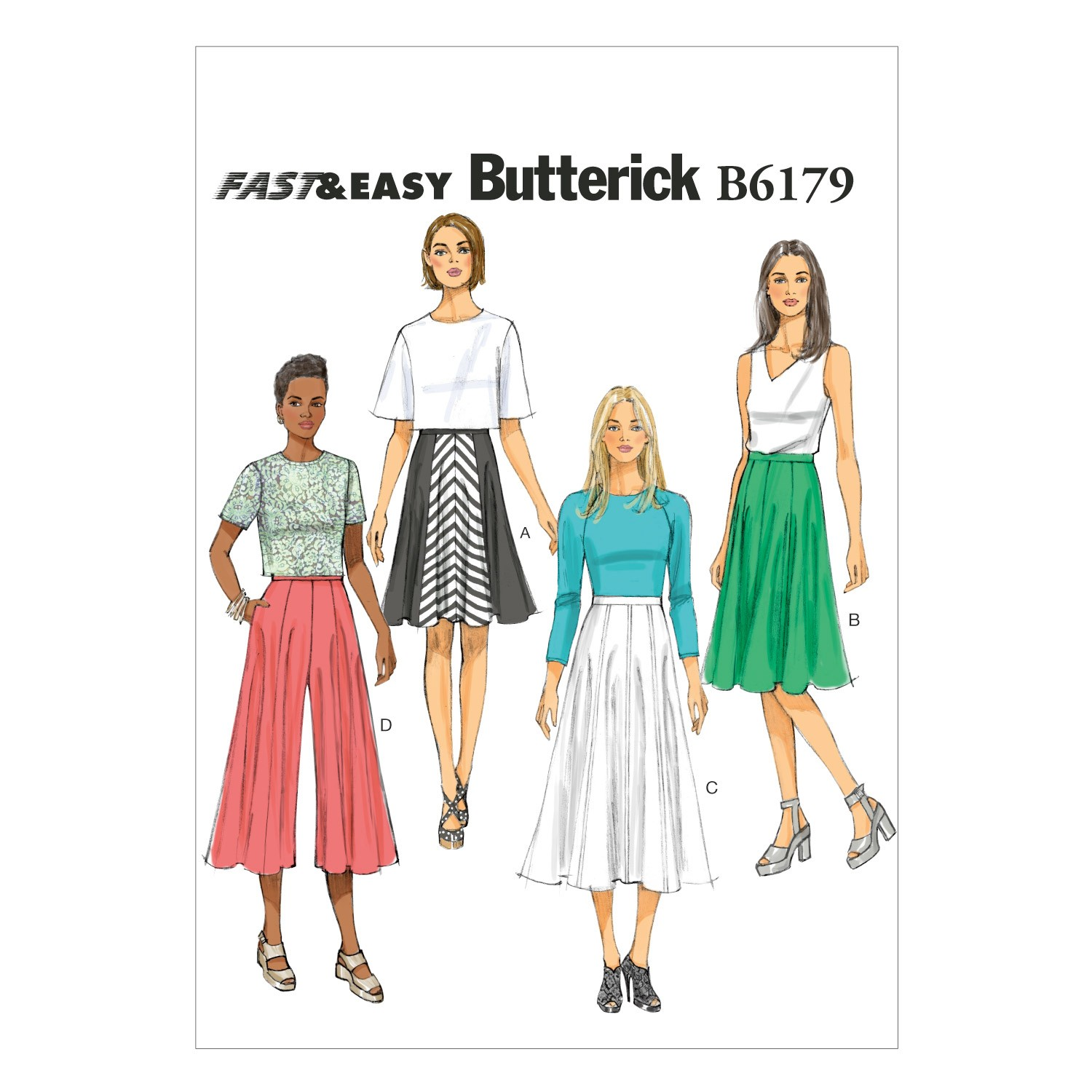 Butterick Sewing Pattern 6179 Misses' Culottes & Skirt