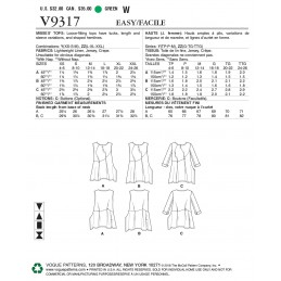 Vogue Sewing Pattern V9317 Women's Loose Fitting Top
