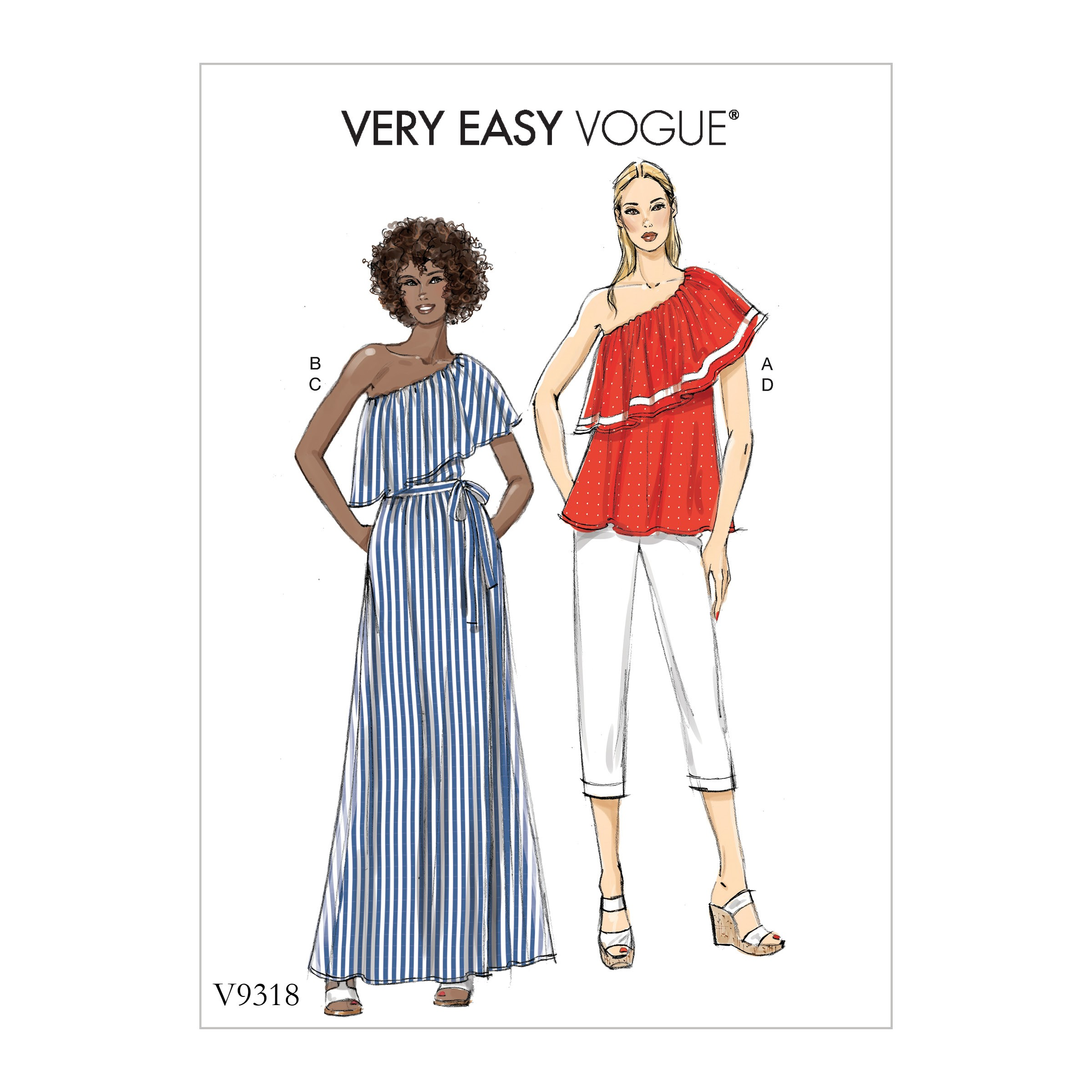 Vogue Sewing Pattern V9318 Women's Summer Top Skirt & Trousers