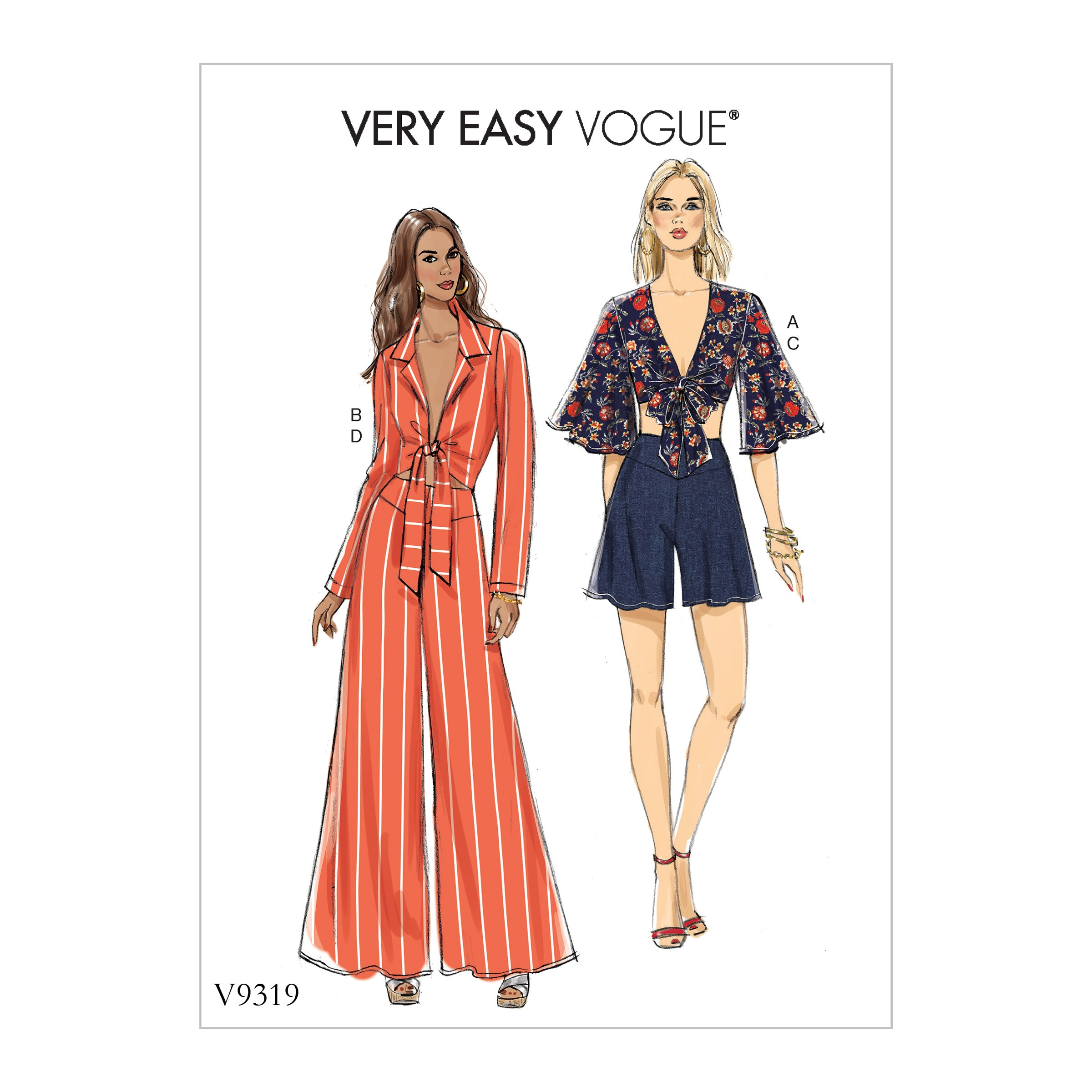Vogue Sewing Pattern V9319 Women's Casual Summer Top Shorts & Trousers