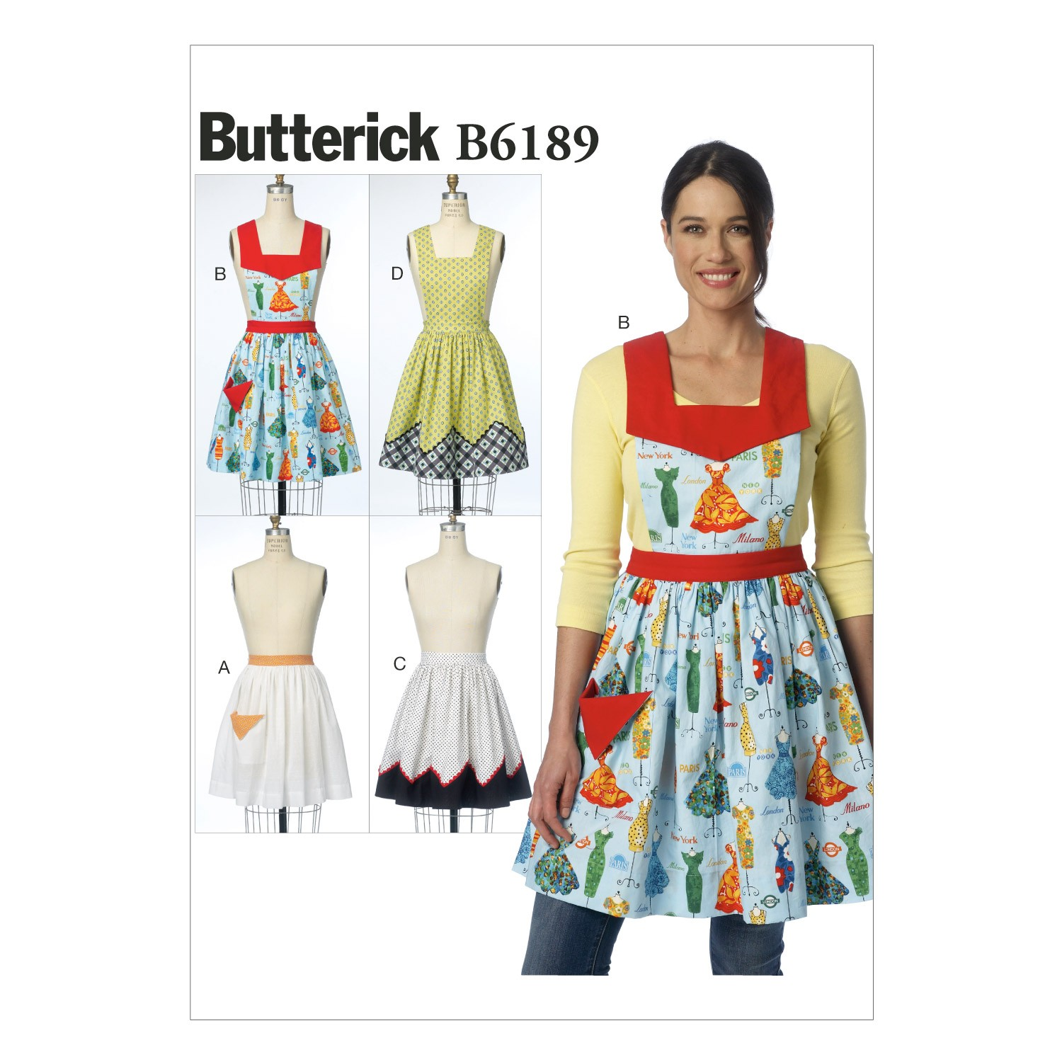 Butterick Sewing Pattern 6189 Misses' Dress Style Apron