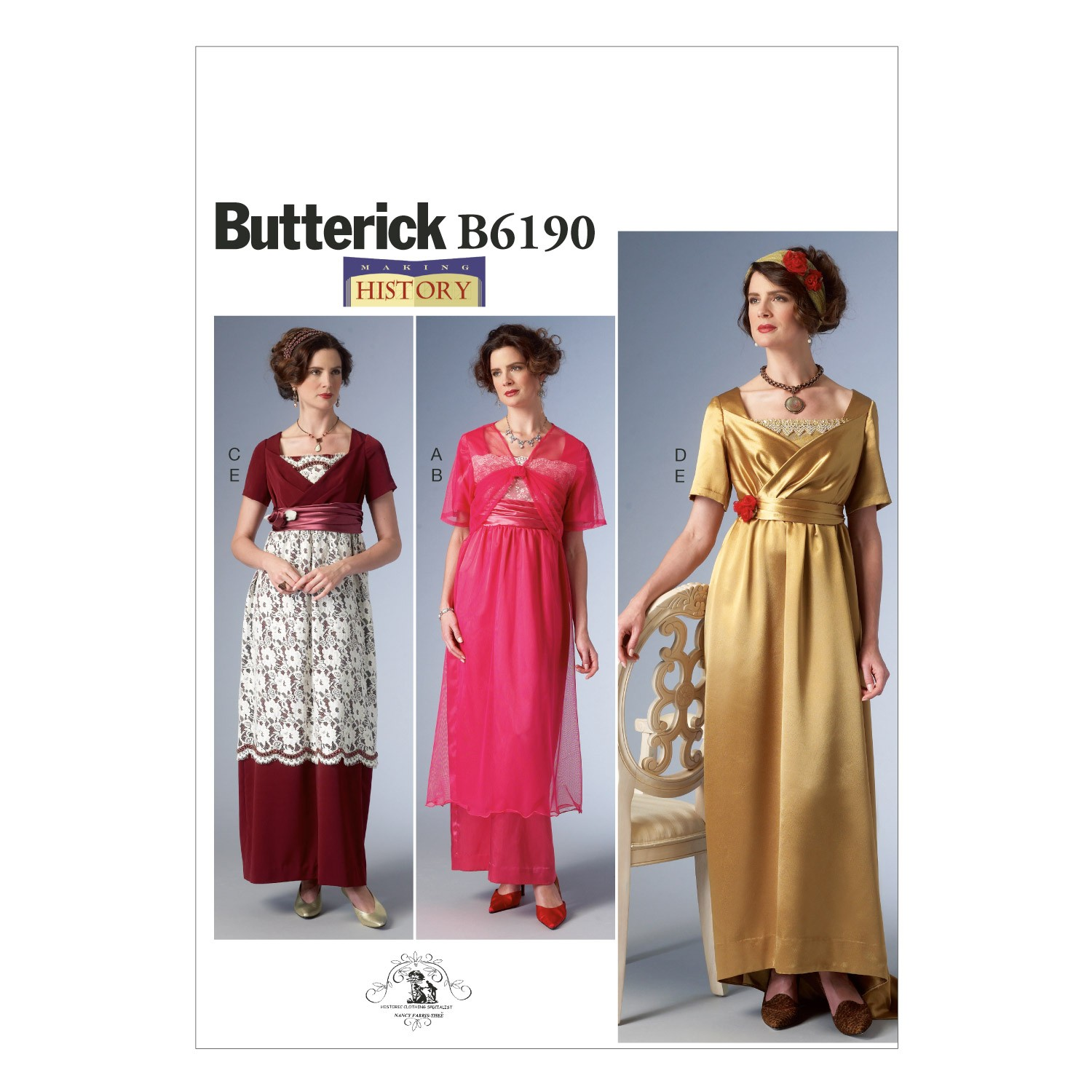 Butterick Sewing Pattern 6190 Misses' Vintage Style Costume Dress