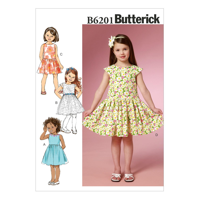 Butterick Sewing Pattern 6201 Children's Girls Summer Dress