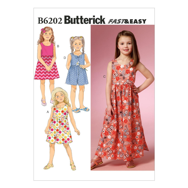 Butterick Sewing Pattern 6202 Children's Girls Summer Dress & Culottes
