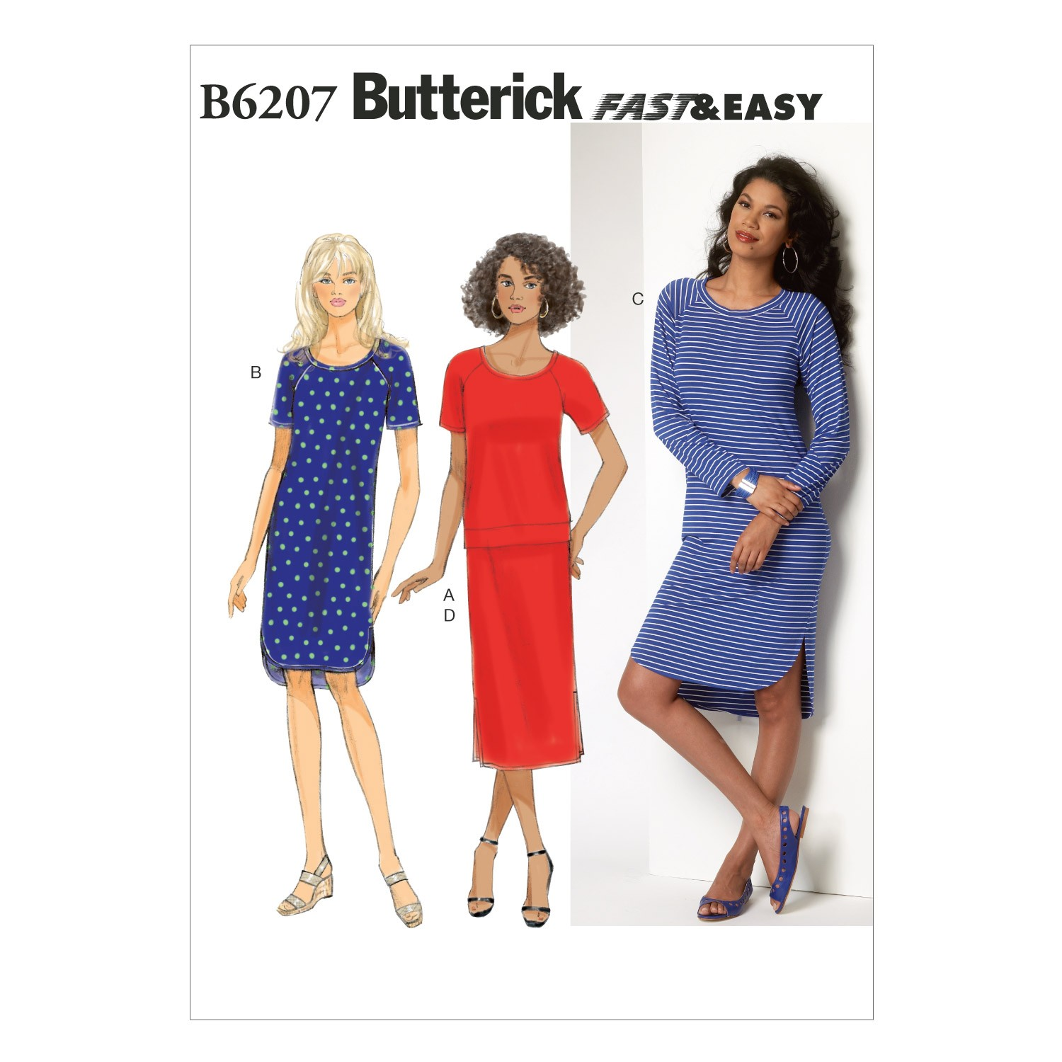 Butterick Sewing Pattern 6207 Misses' Top Dress & Skirt