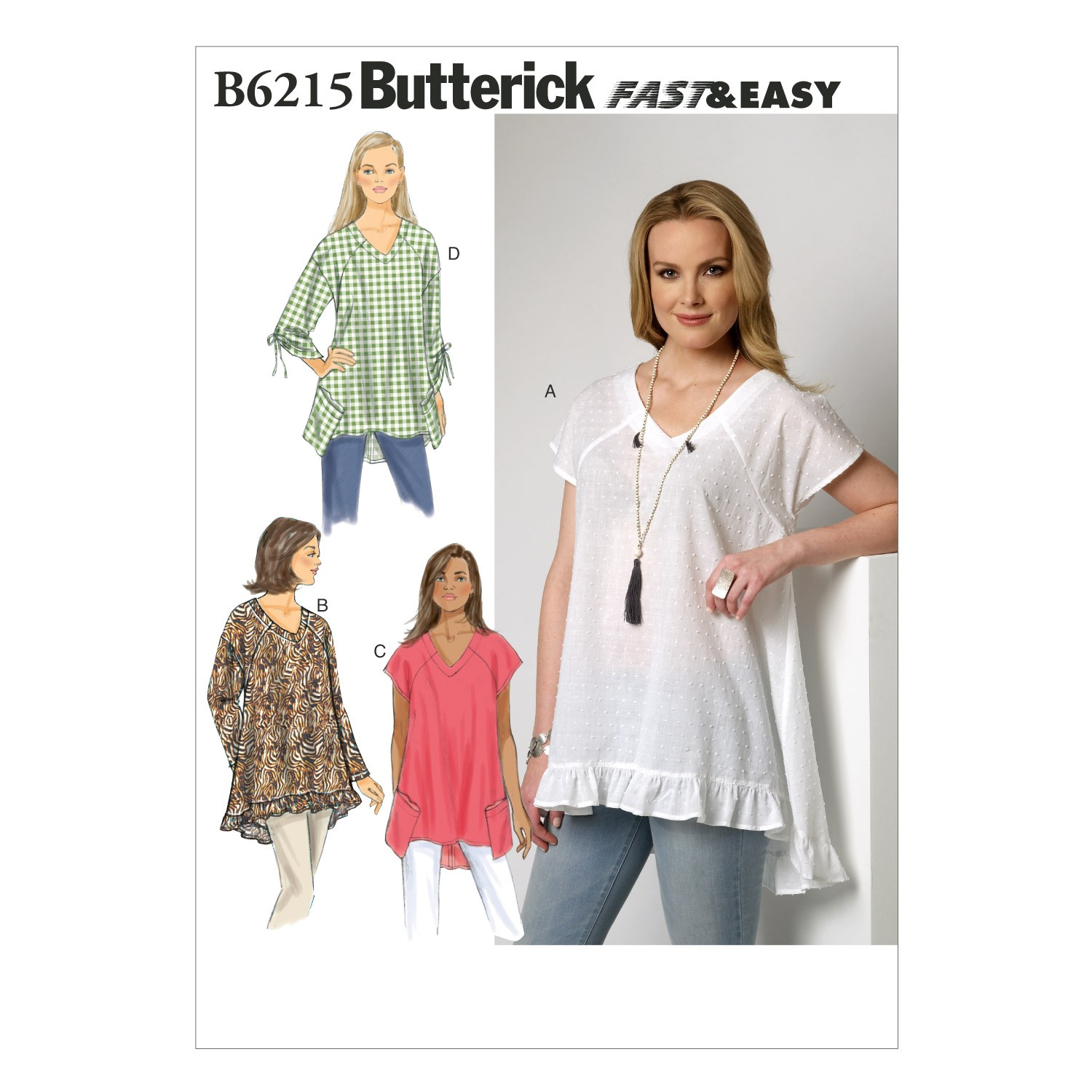 Butterick Sewing Pattern 6215 Misses' Very Loose Fitting Top & Tunic
