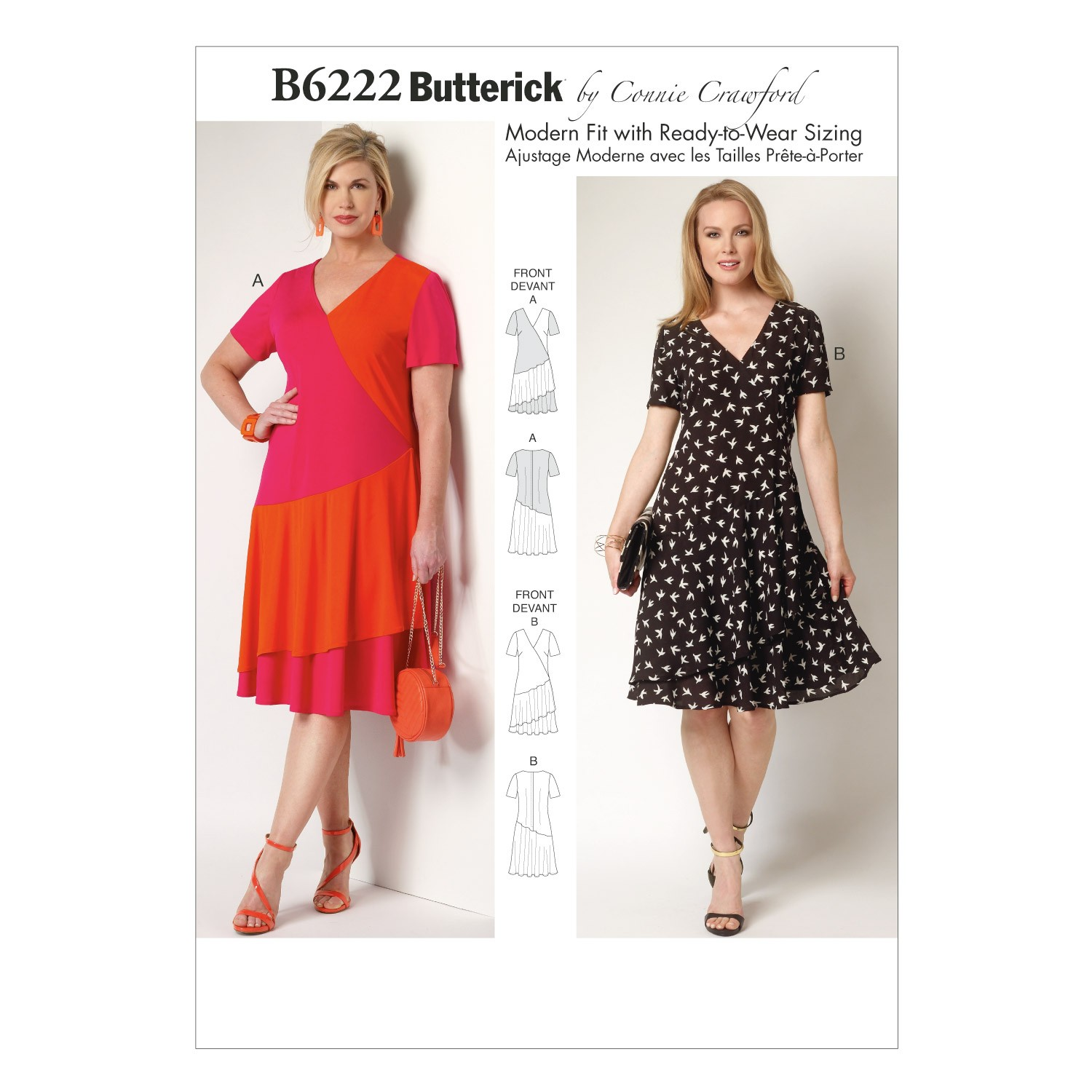 Butterick Sewing Pattern 6222 Misses' Asymmetrical Dress