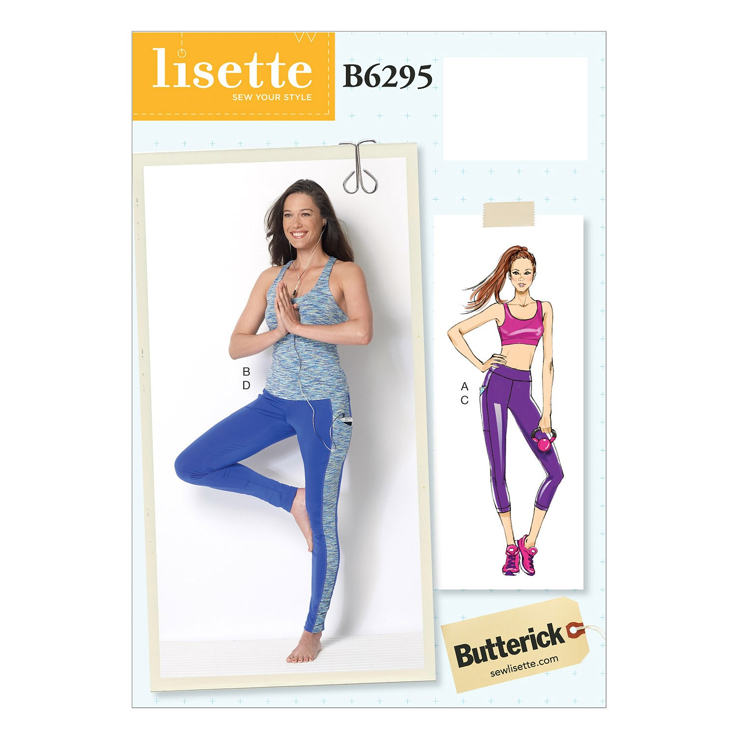 Butterick Sewing Pattern 6295 Misses' Crop Top Leggings & Strapped Top