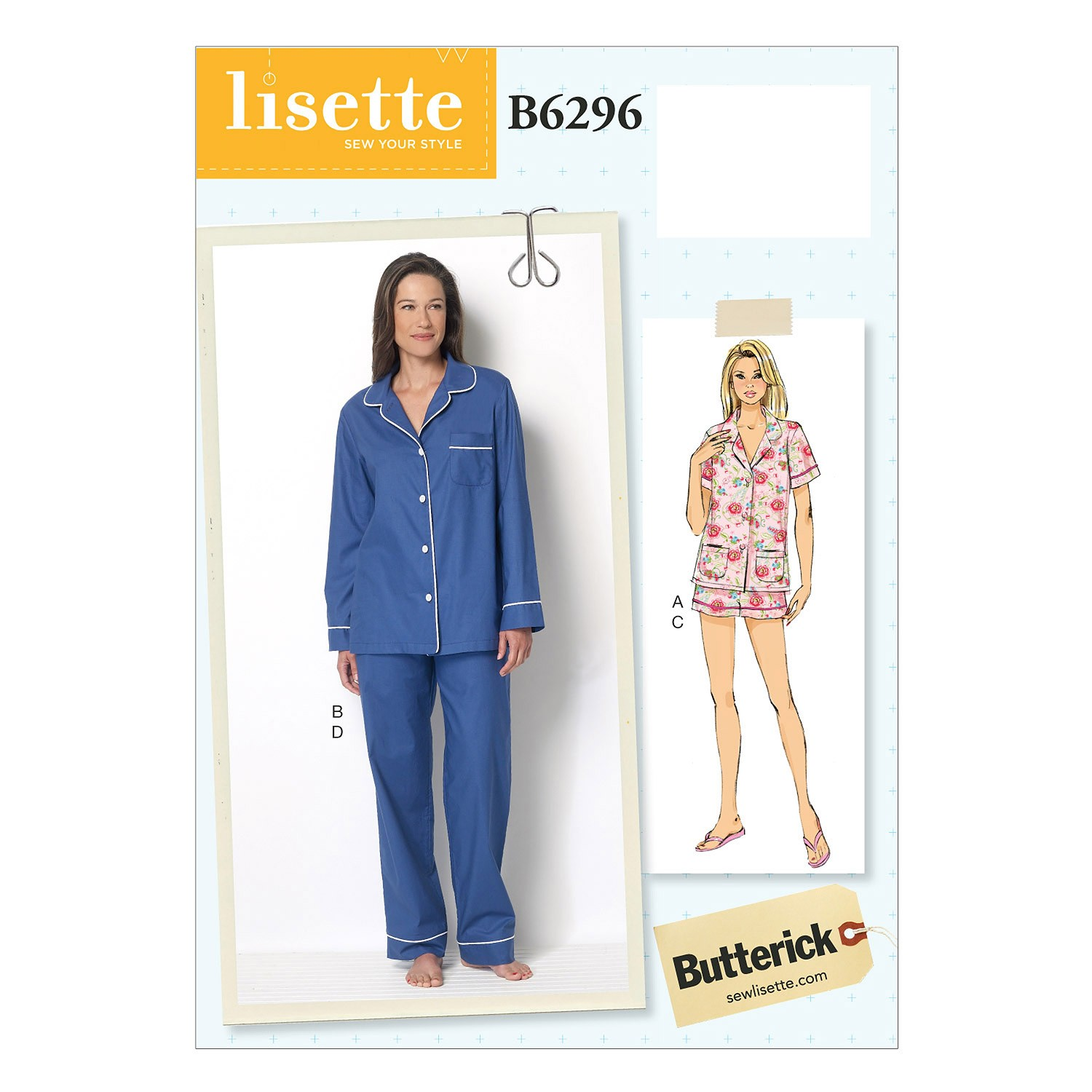 Butterick Sewing Pattern 6296 Misses' Pyjama Top Shorts & Trousers