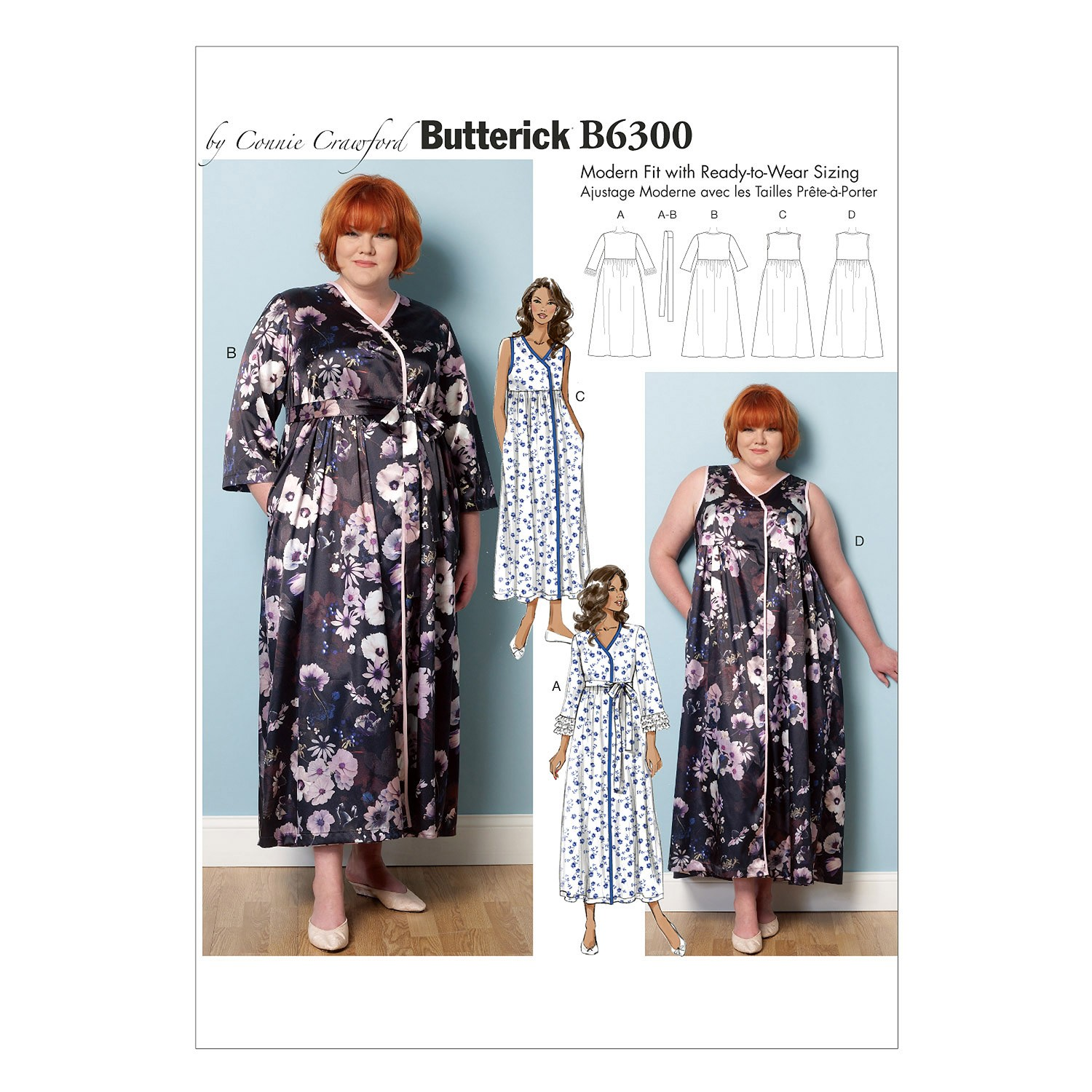 Butterick Sewing Pattern 6300 Misses' Robe Belt & Negligee