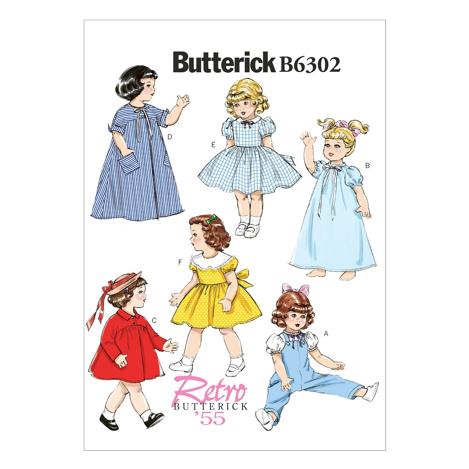 "Butterick Sewing Pattern 6302 18"" Doll Clothes Overalls Dress Nightgown"