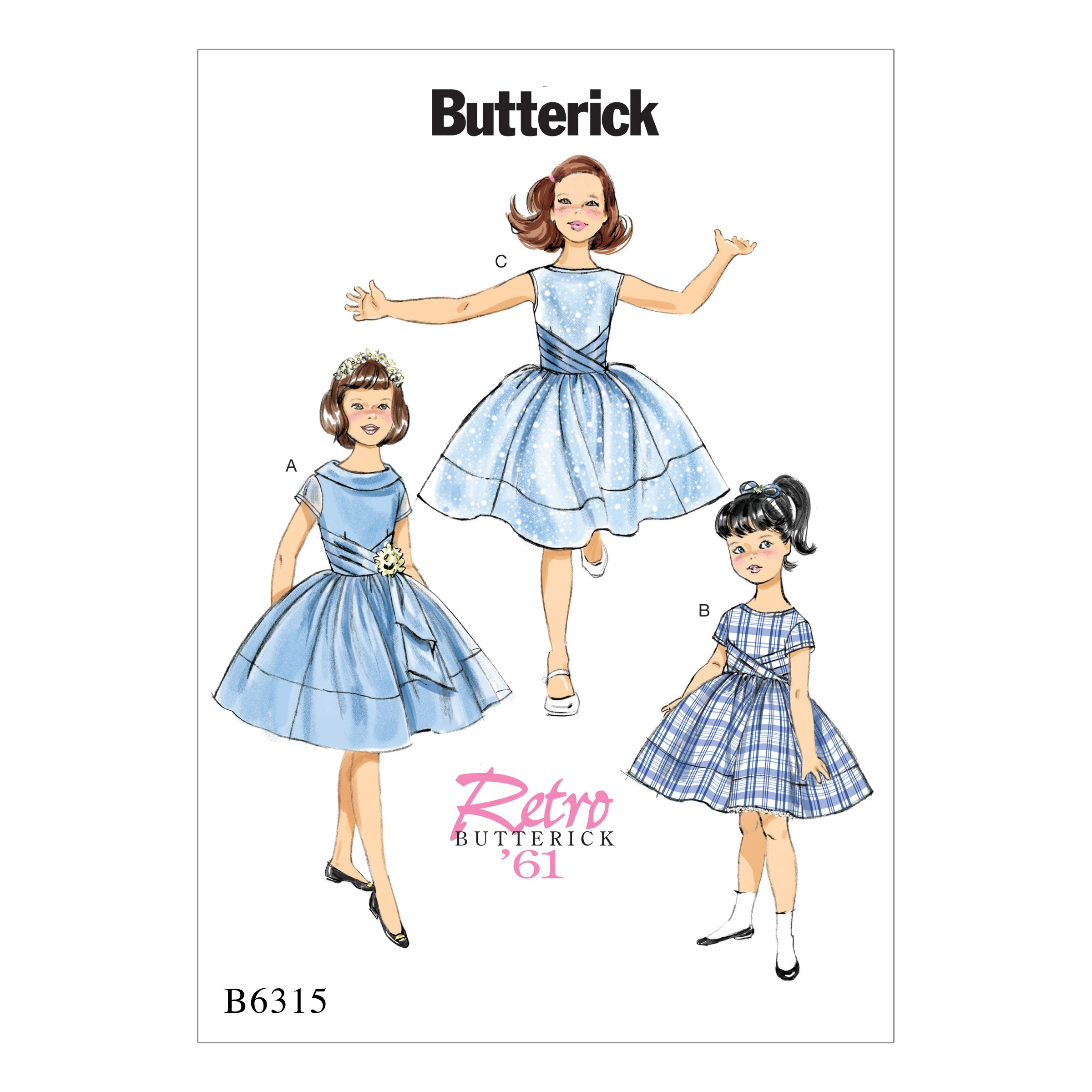 Butterick Sewing Pattern 6315 Children's Girls Pleated Cummerbund Dresses