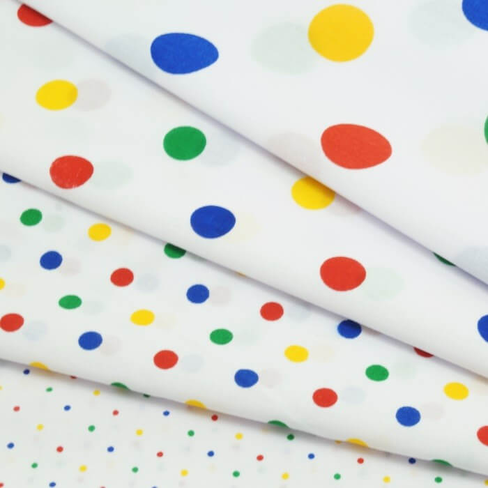 3mm Polycotton Fabric Polka Dots Spots Dotty Multi Craft Dress