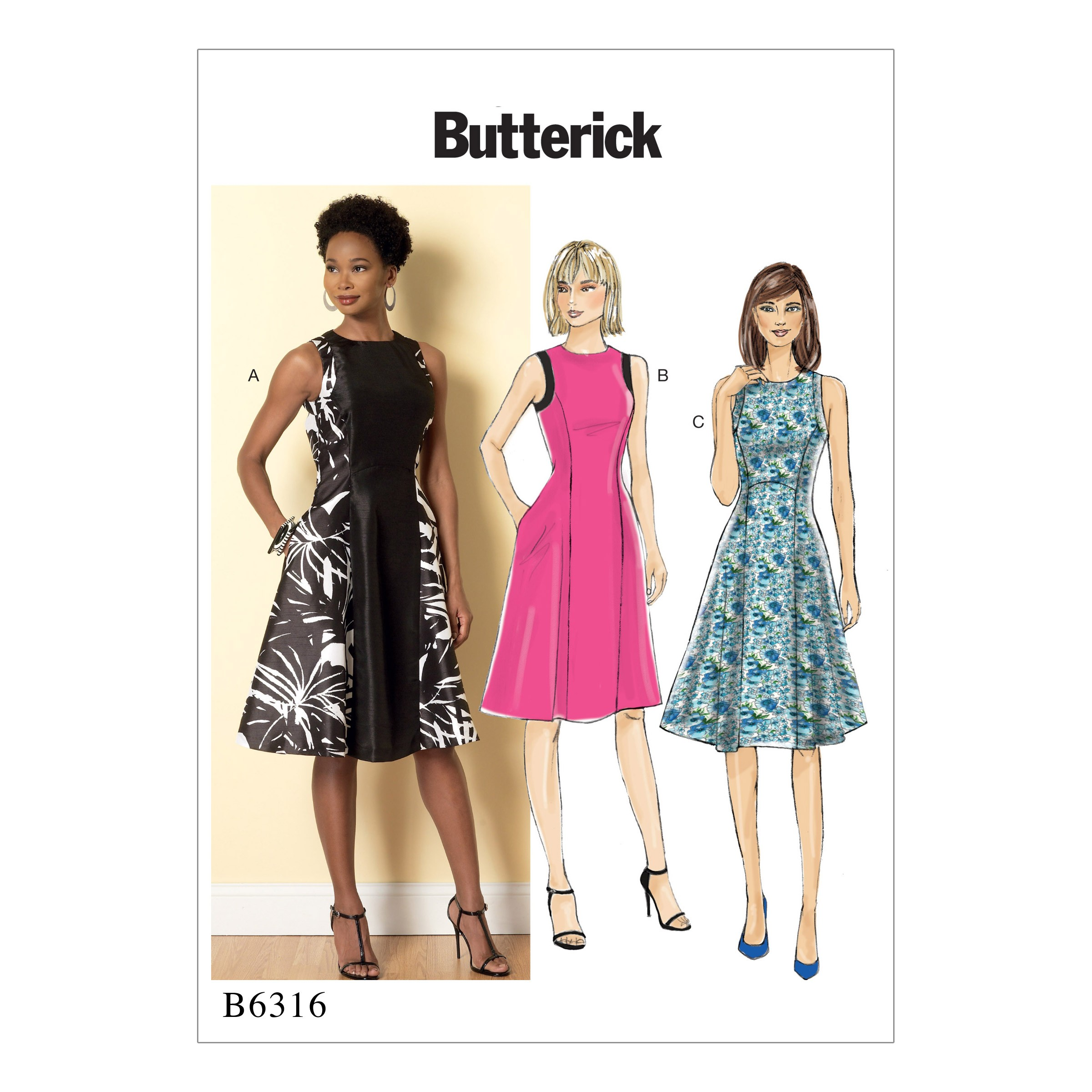 Butterick Sewing Pattern 6316 Misses' Fit & Flare Evening Dresses