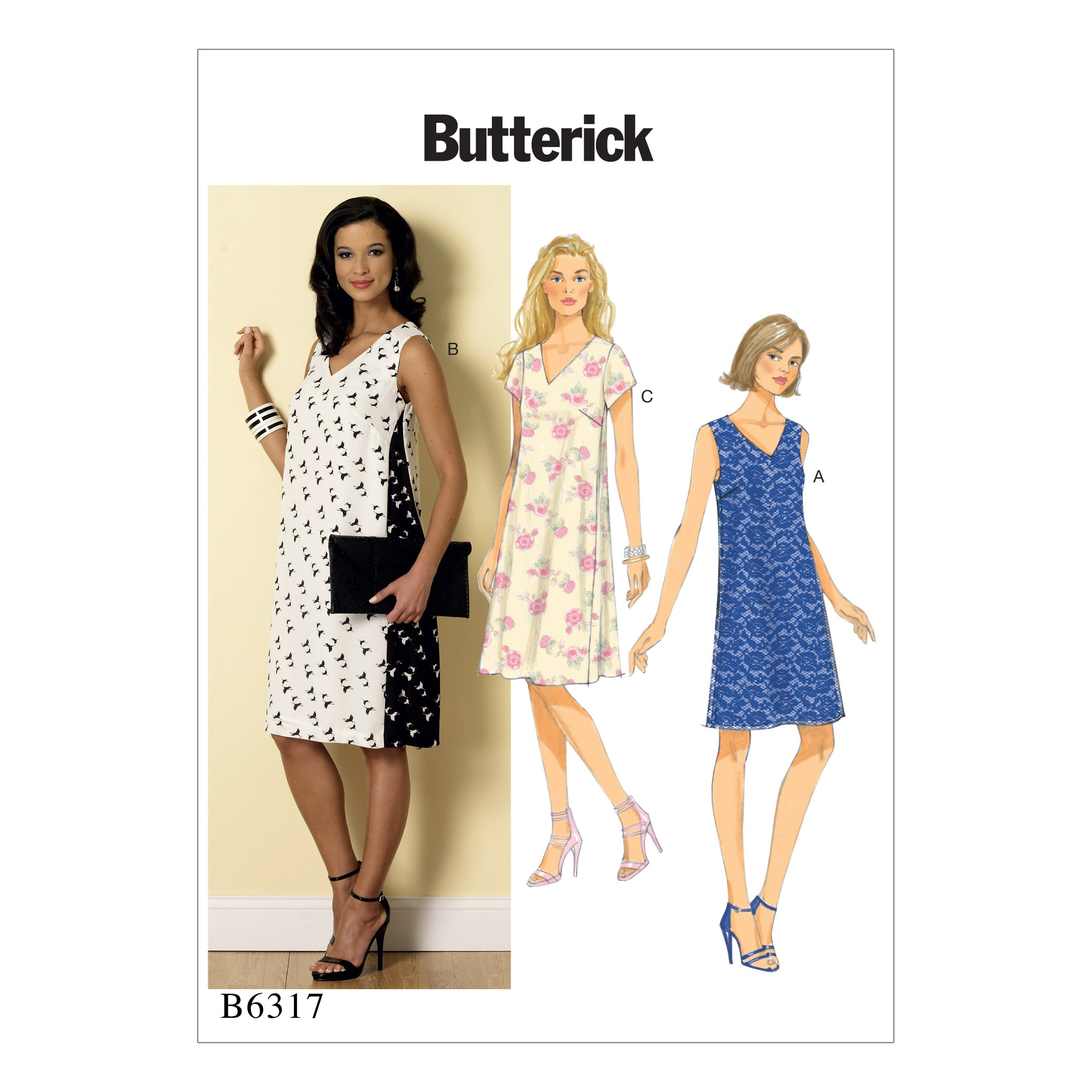 Butterick Sewing Pattern 6317 Misses' Pullover V-Neck Dresses