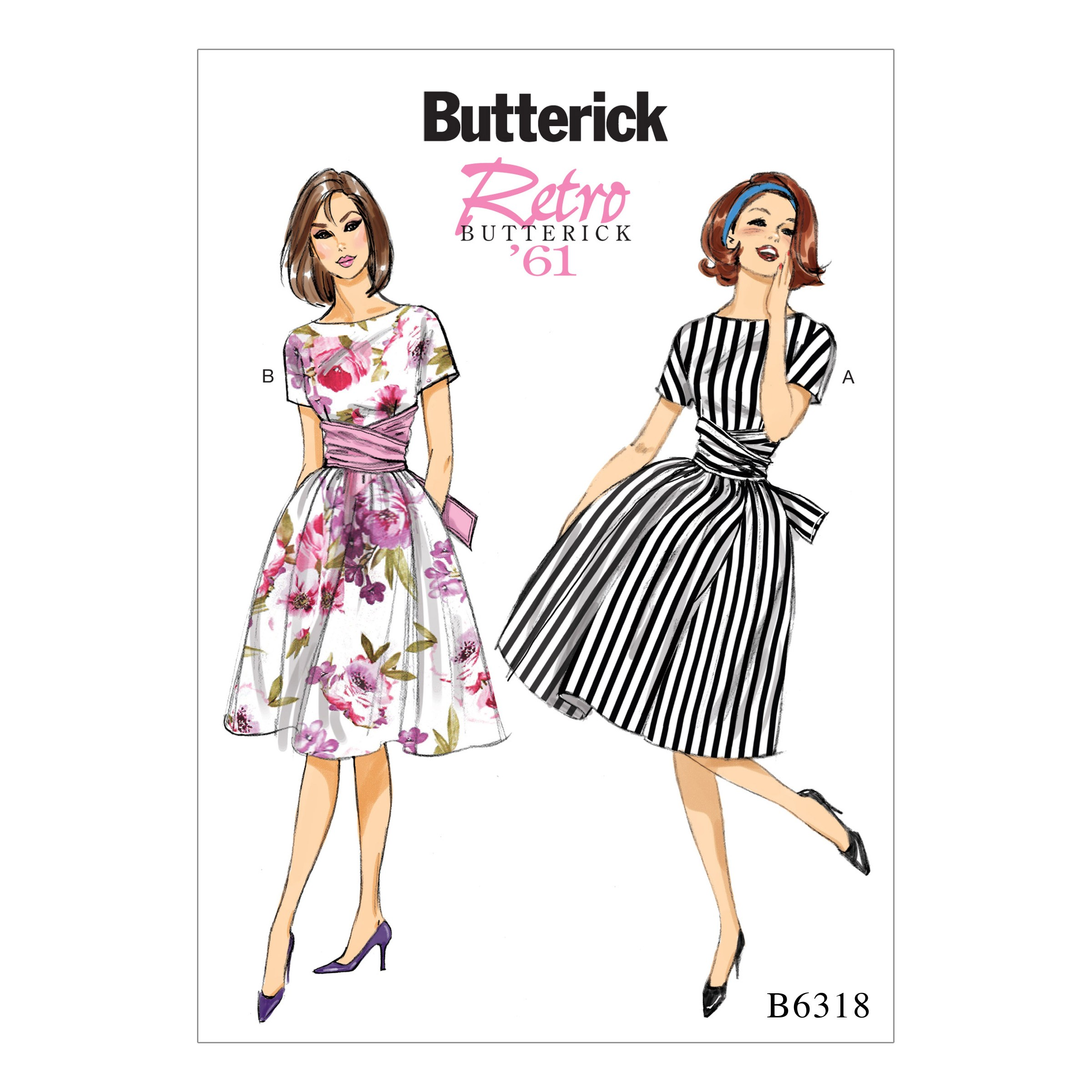 Butterick Sewing Pattern 6318 Misses' Semi Fitted Bodice Dress