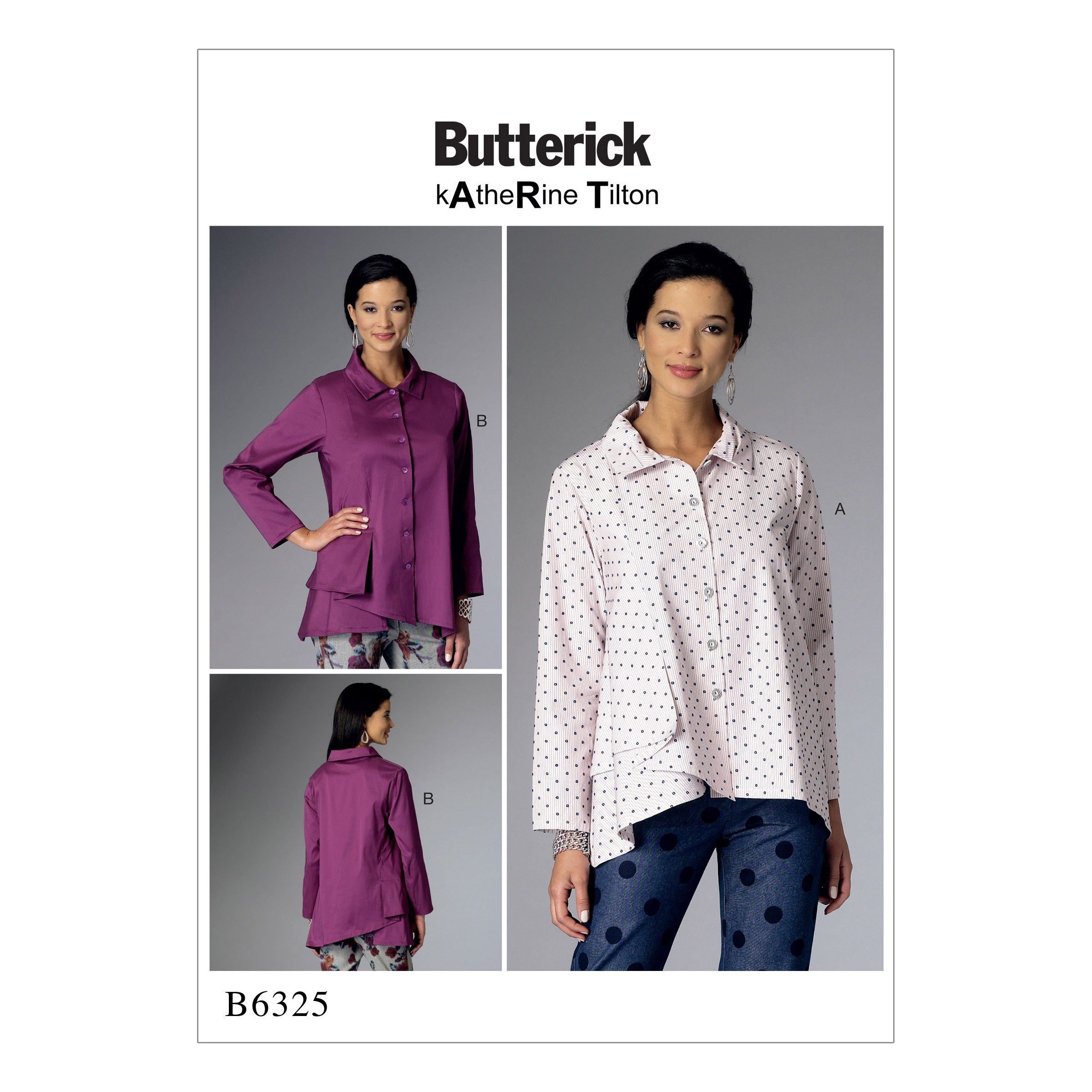 Butterick Sewing Pattern 6325 Misses' Pleasted Collar Asymmetrical Hem Shirts