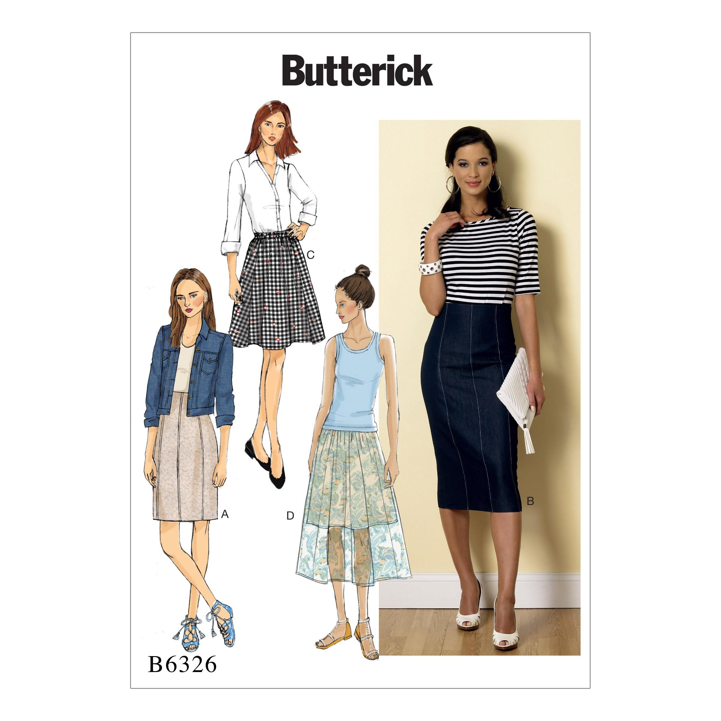 Butterick Sewing Pattern 6326 Misses' Rasied Waist or Elastic Waist Skirts