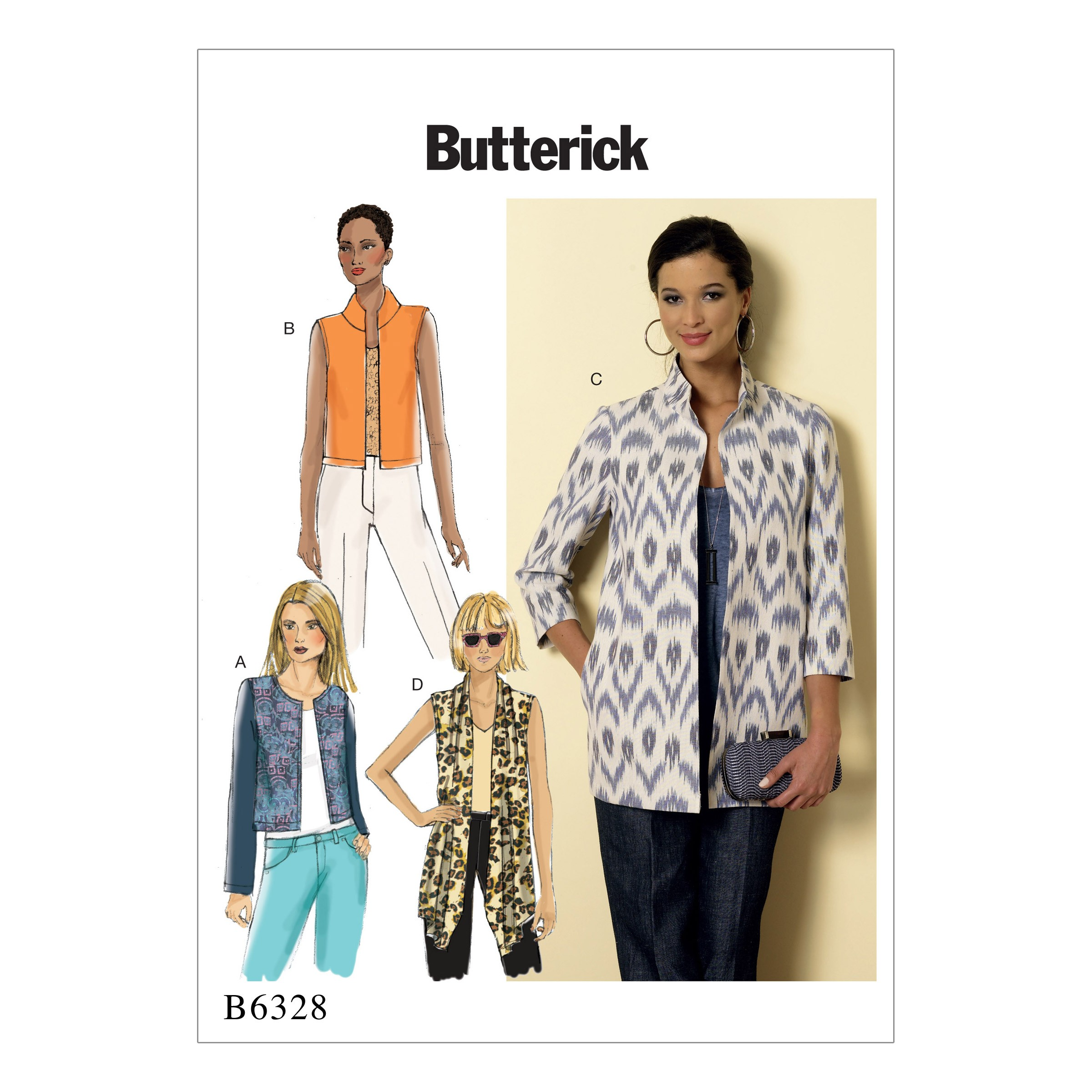 Butterick Sewing Pattern 6328 Misses' Open Front Jacket Coat
