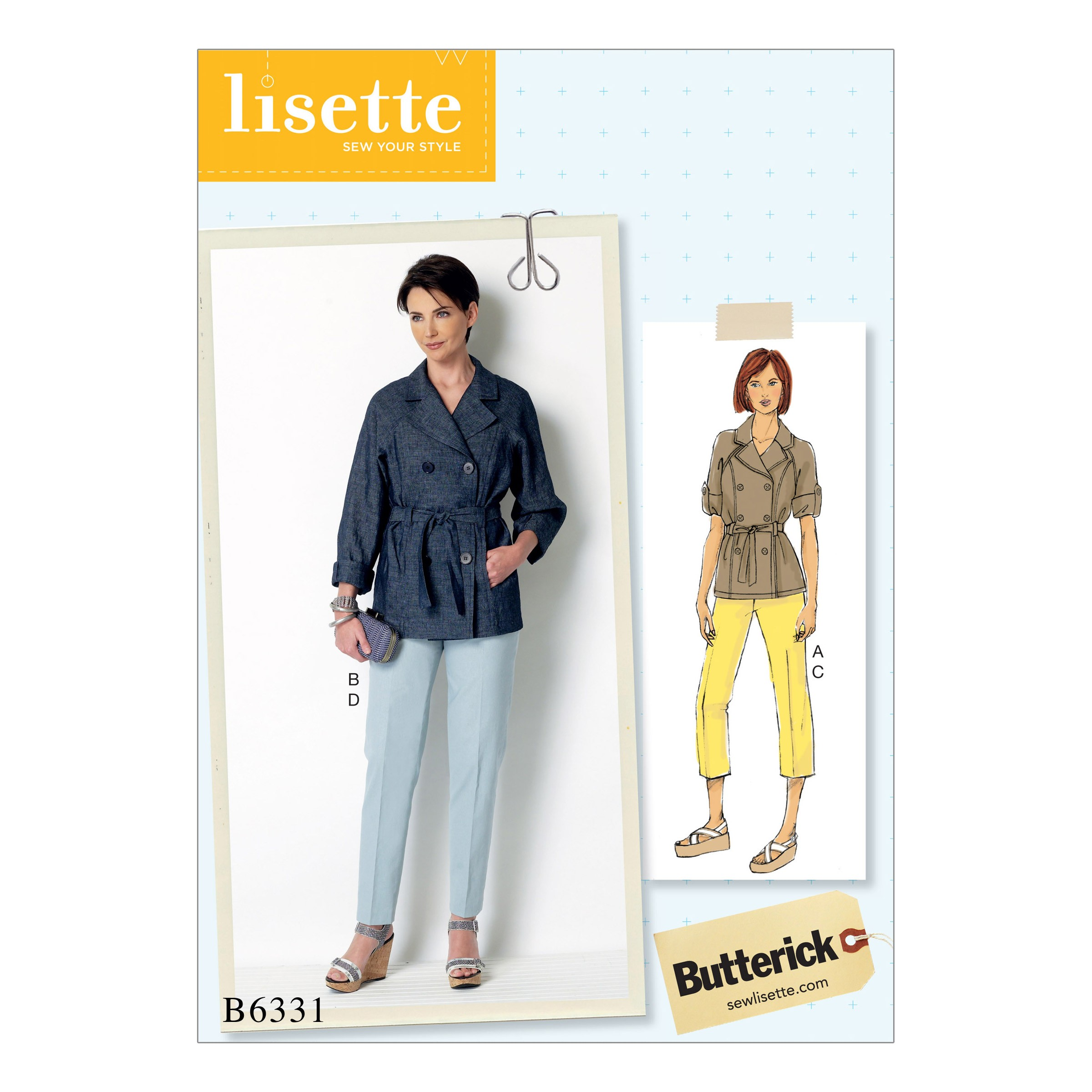 Butterick Sewing Pattern 6331 Misses' Raglan Sleeve Trench Jacket & Trousers