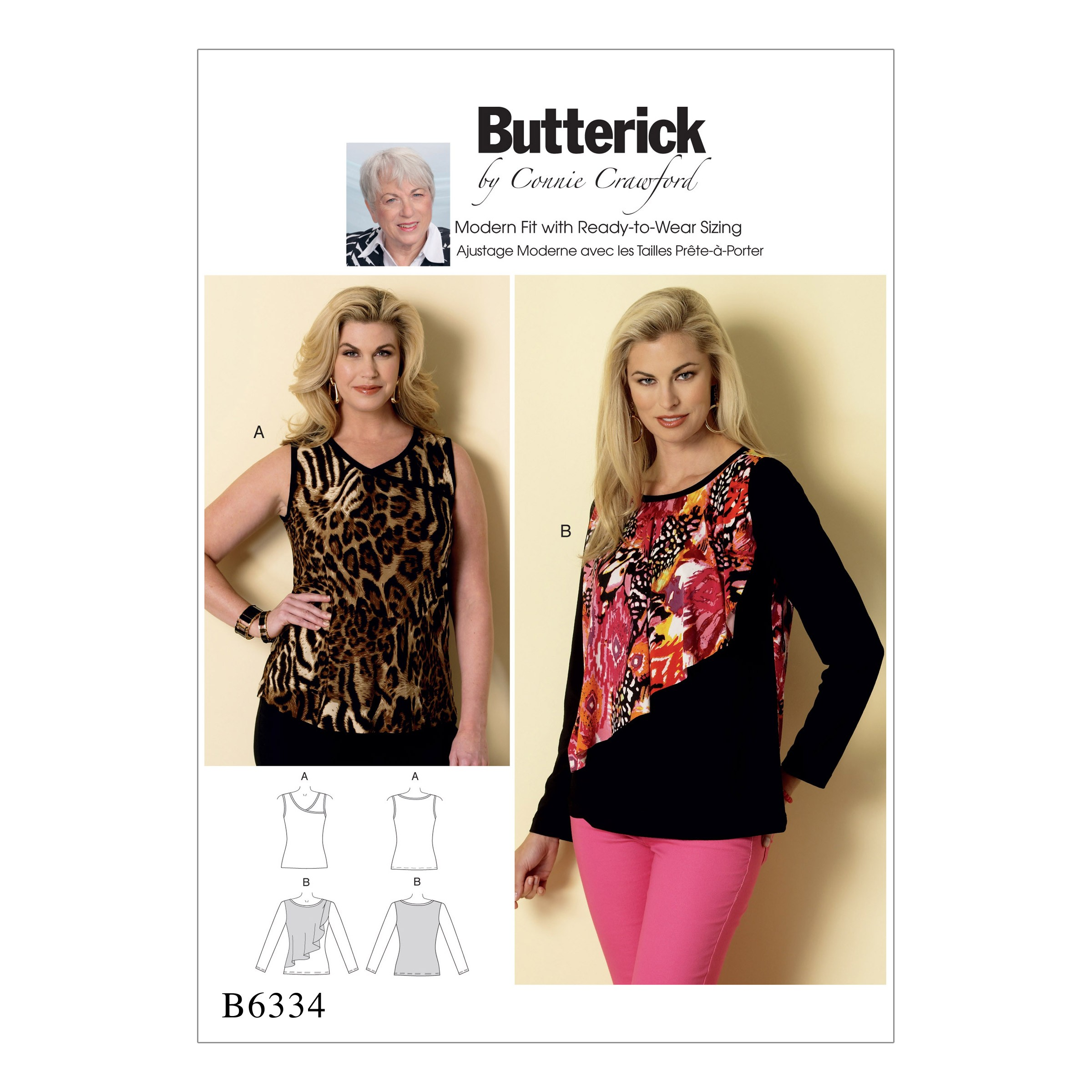 Butterick Sewing Pattern 6334 Misses' Sleeveless Flounce Overlay Tops
