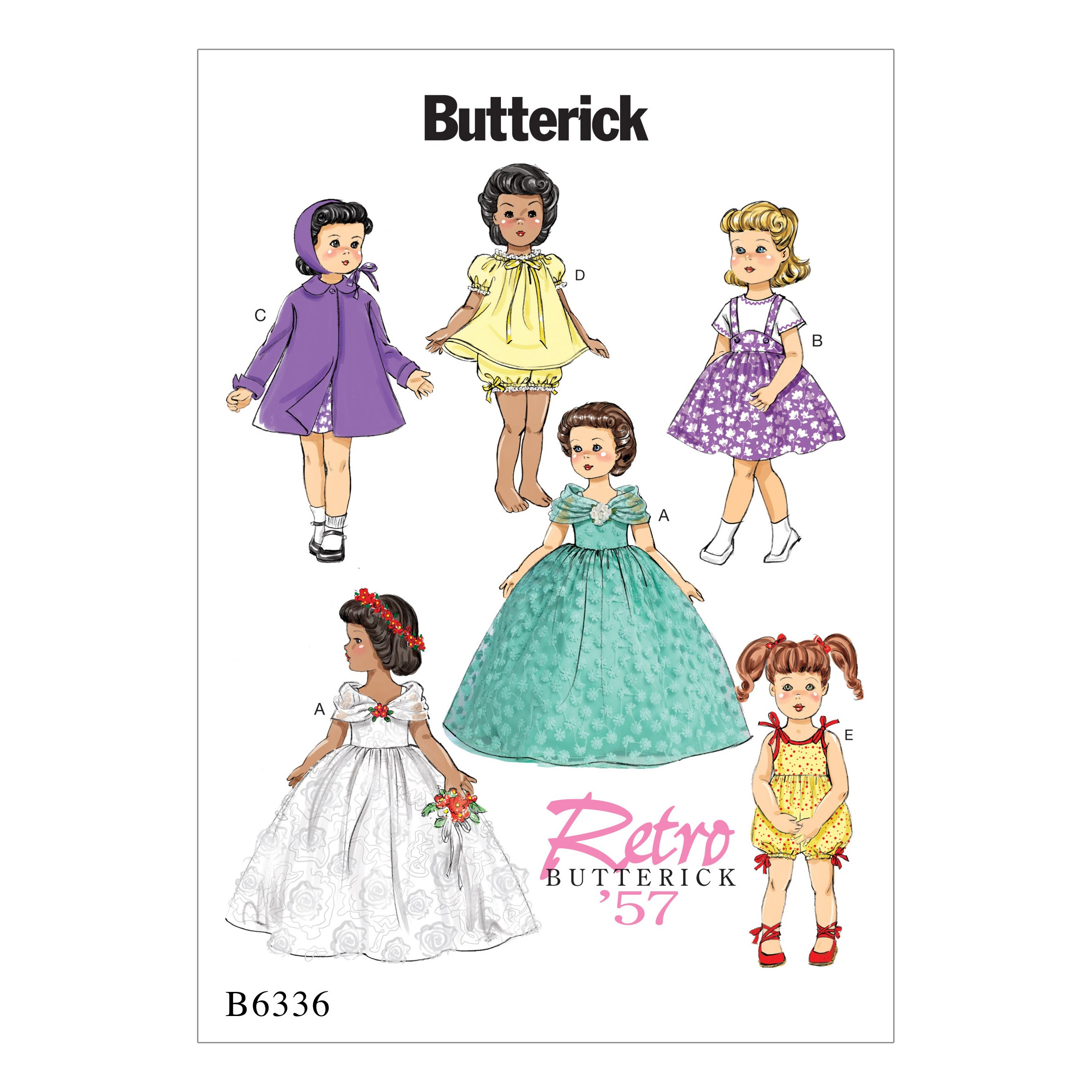 "Butterick Sewing Pattern 6336 18"" Doll Clothes Retro Outfits Bride Dress"