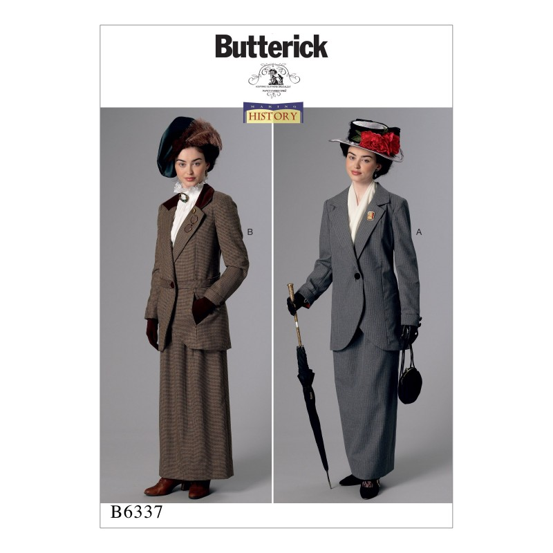 Butterick Sewing Pattern 6337 Misses' Notch-Collar Jackets & Floor Length Skirts
