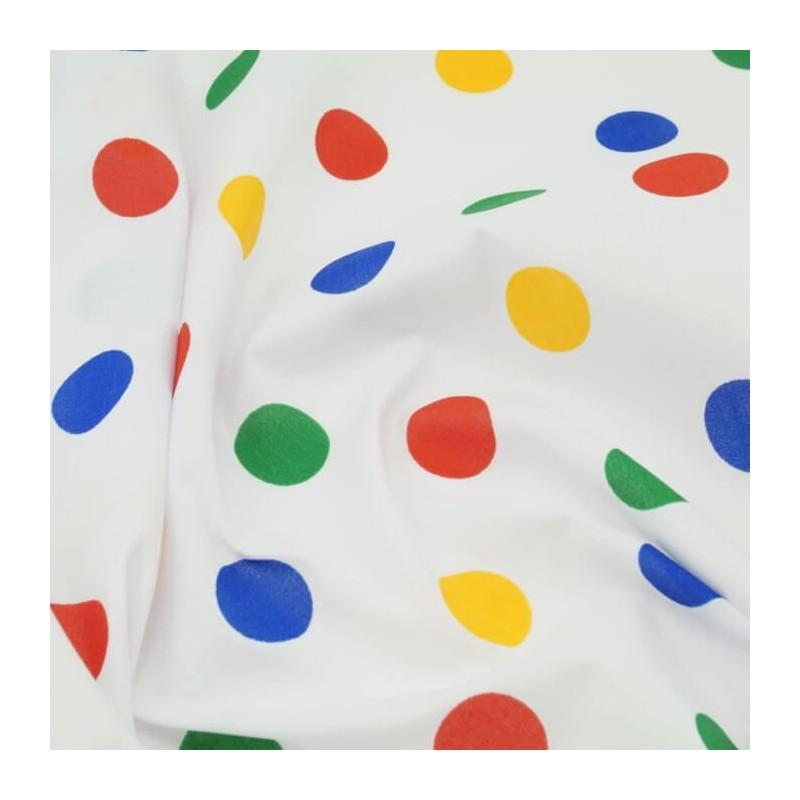 25mm Polycotton Fabric Polka Dots Spots Dotty Multi Craft Dress