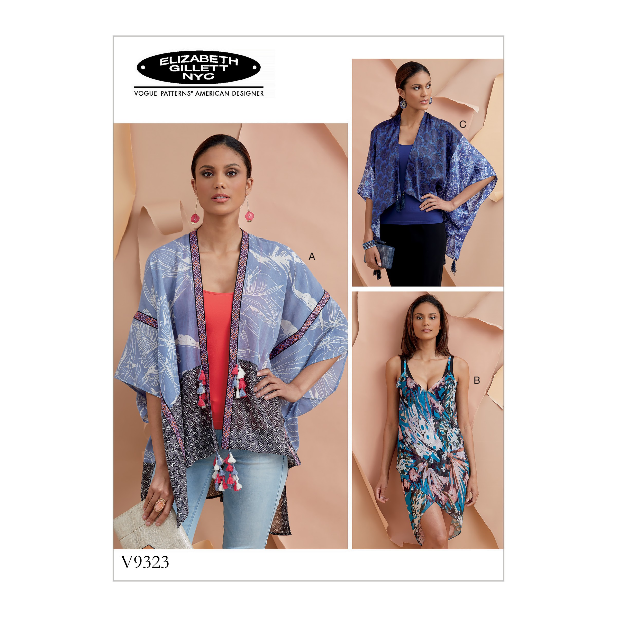 Vogue Sewing Pattern V9323 Women's Zip Front Dolman Sleeve Caftans