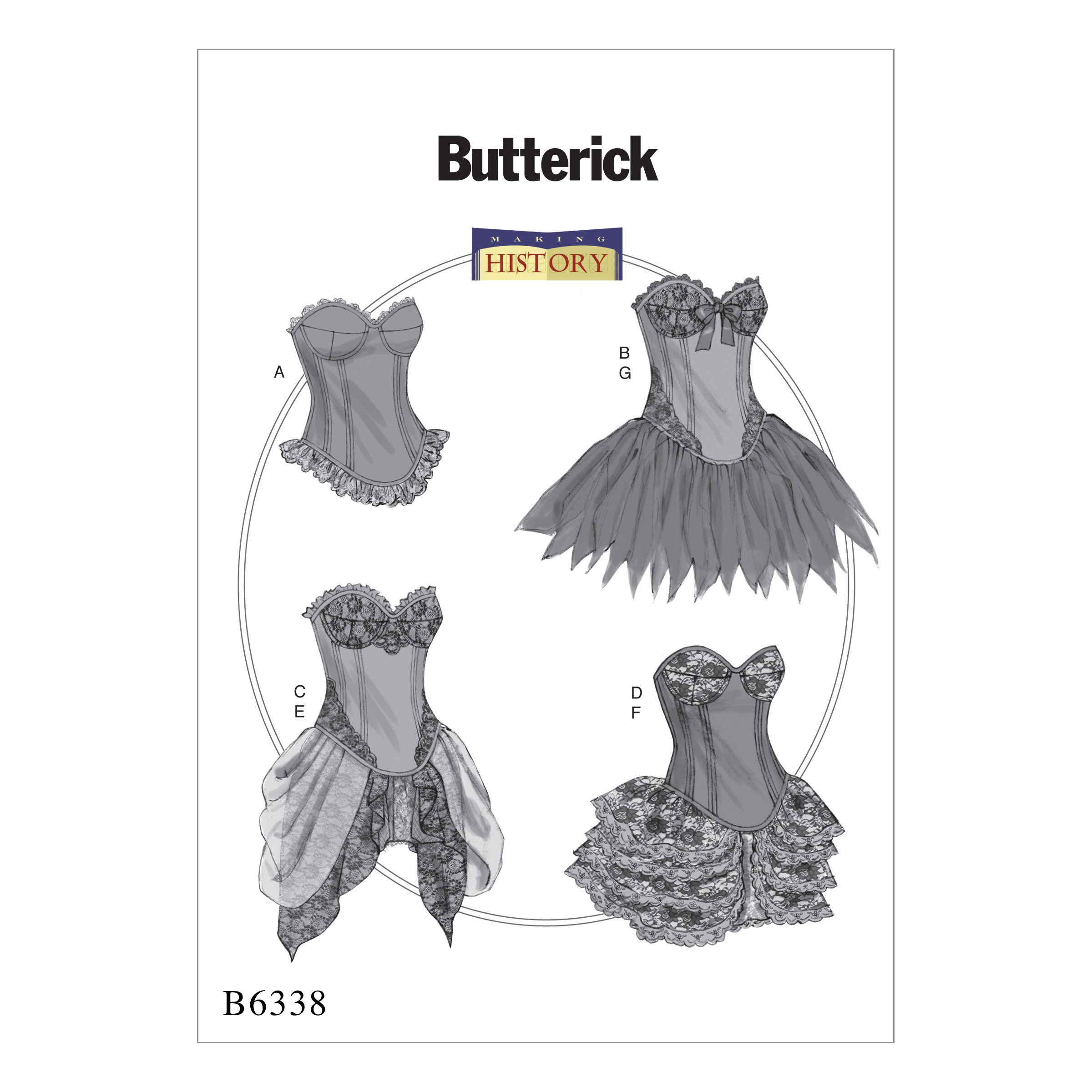 Butterick Sewing Pattern 6338 Misses' Curve-Hem Corsets & Skirts