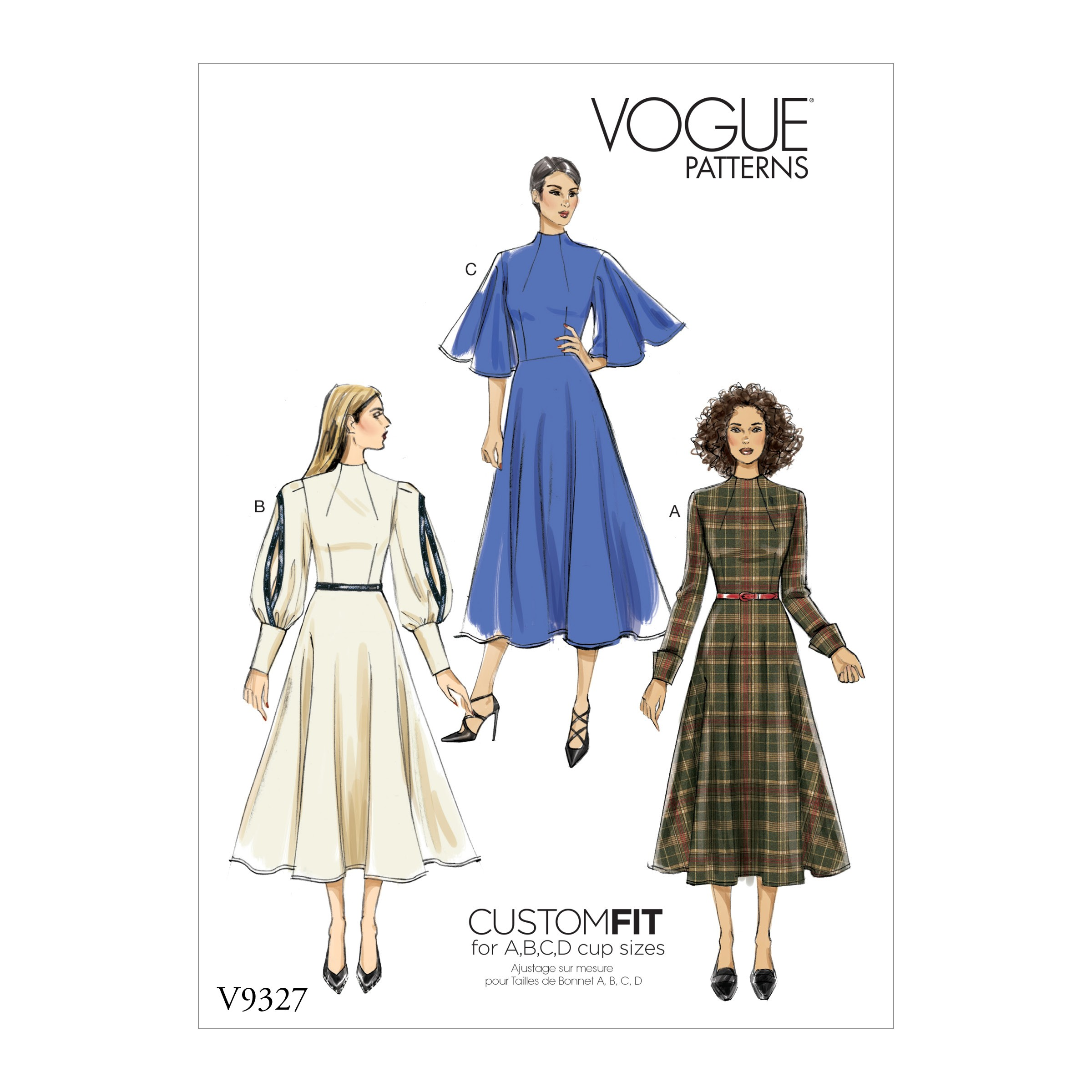 Vogue Sewing Pattern V9327 Women's High Neck Dress