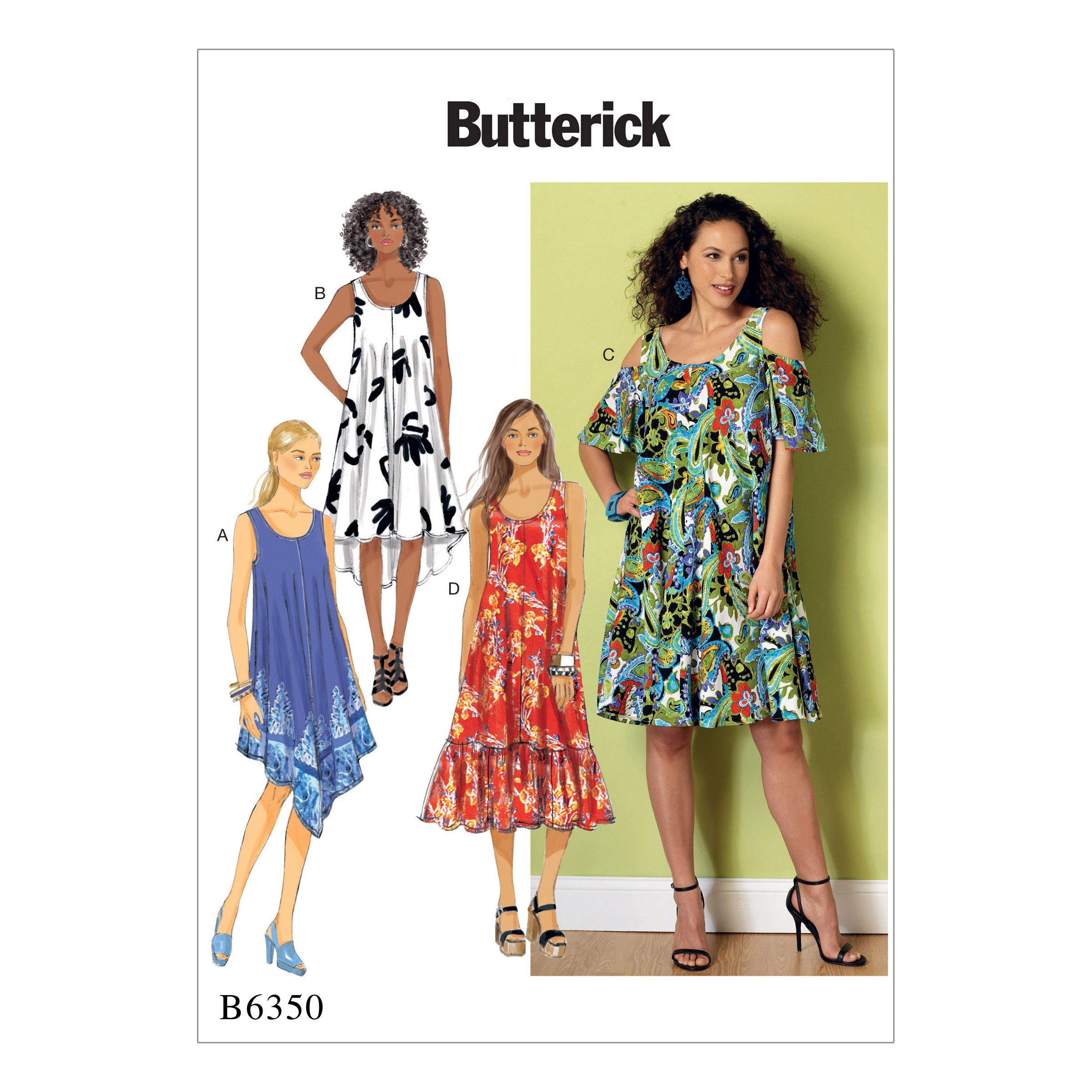 Butterick Sewing Pattern 6350 Misses' Sleeveless & Cold Shoulder Dresses