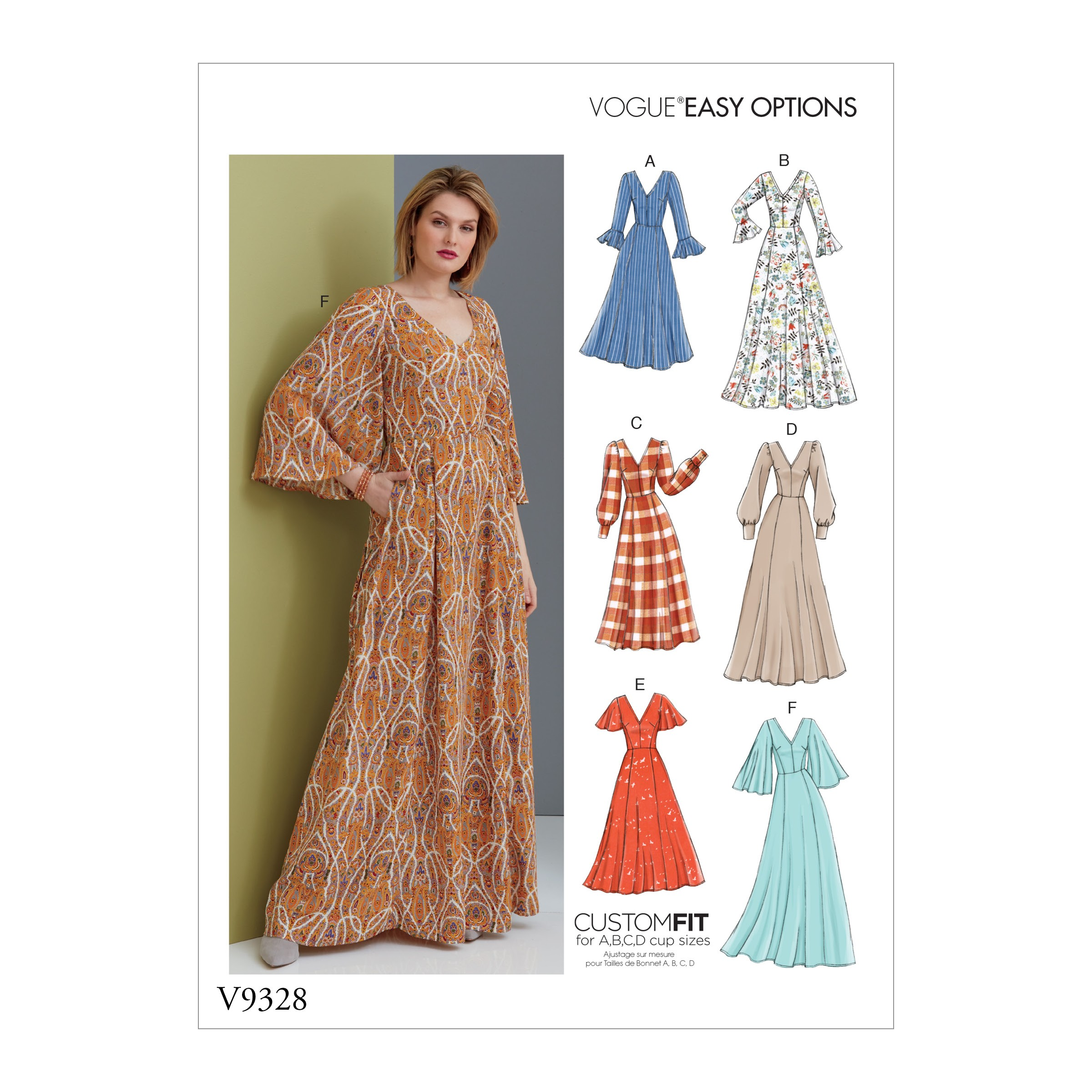 Vogue Sewing Pattern V9328 Women's Dress With Sleeve Variations