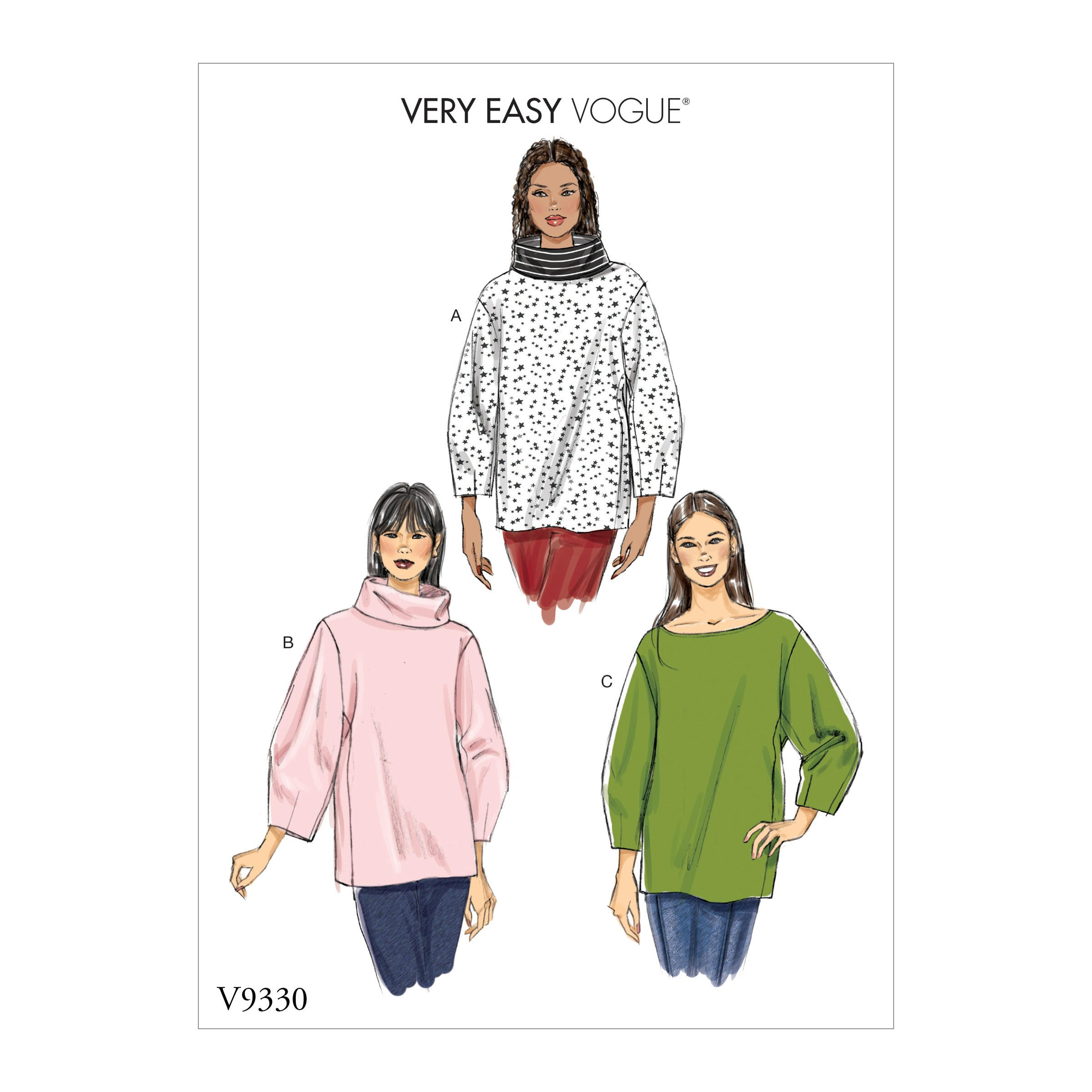 Vogue Sewing Pattern V9330 Women's Loose Fitting Oversized Top