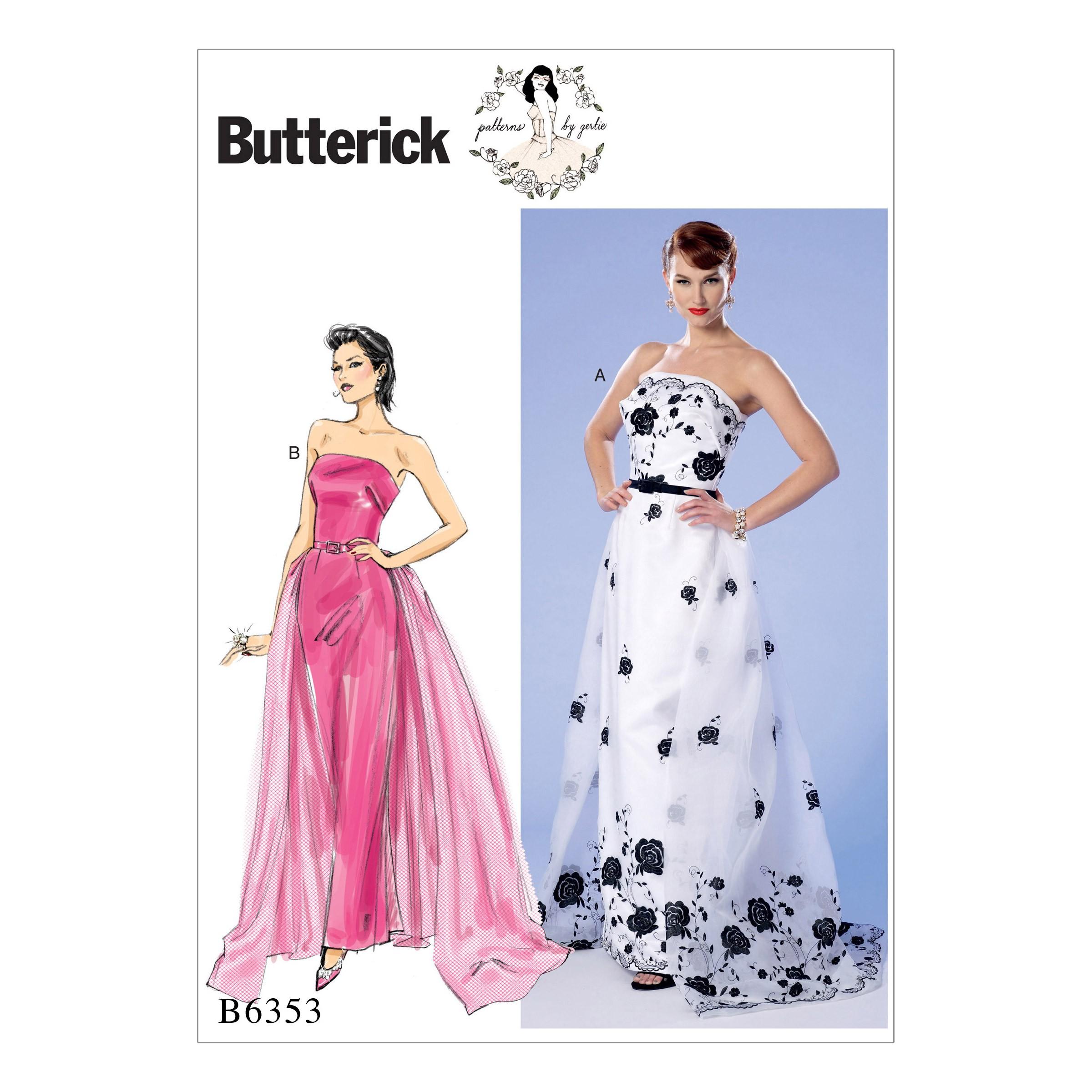 Butterick Sewing Pattern 6353 Misses' Strapless Dress Detachable Train & Belt