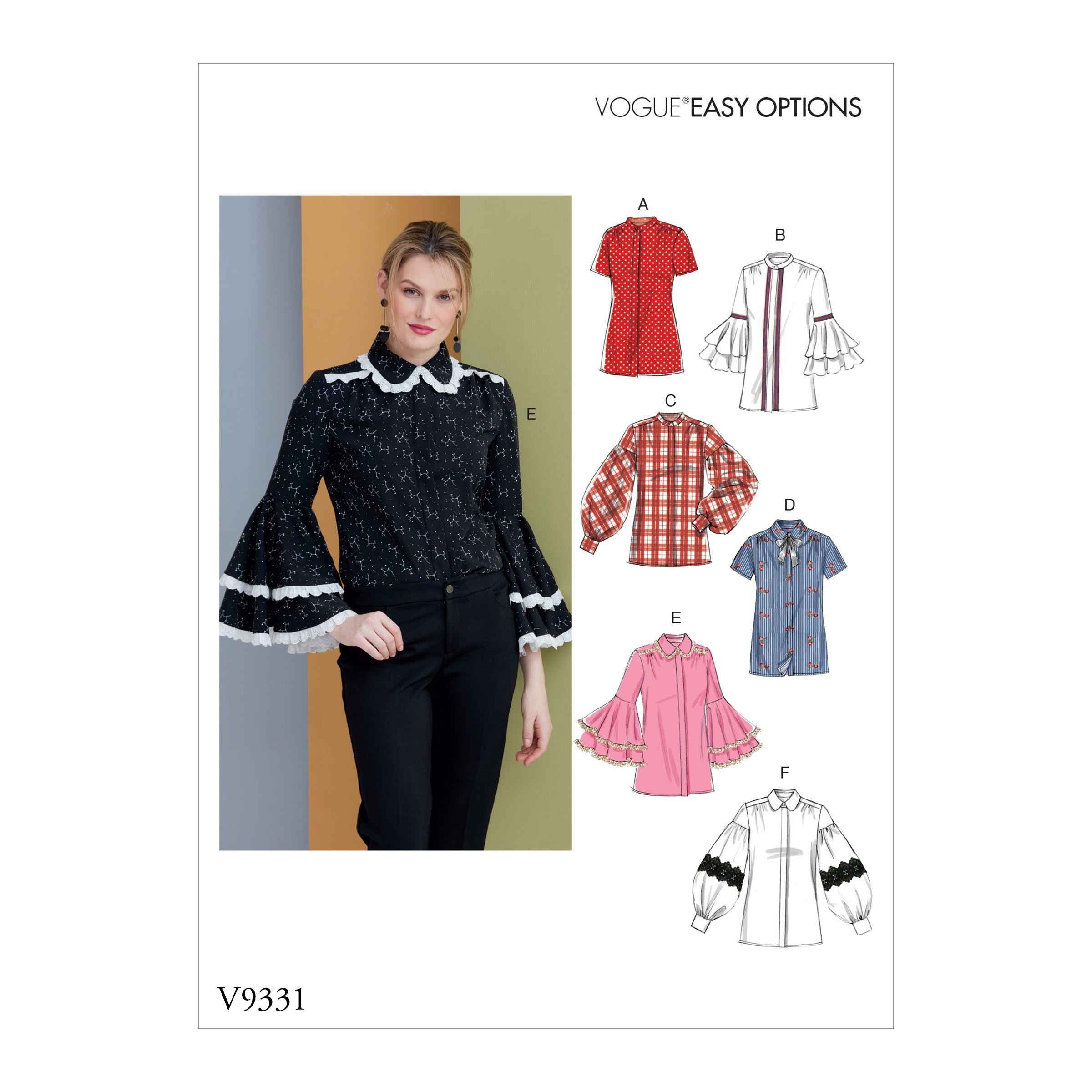 Vogue Sewing Pattern V9331 Women's Collared Shirt With Sleeve Variations