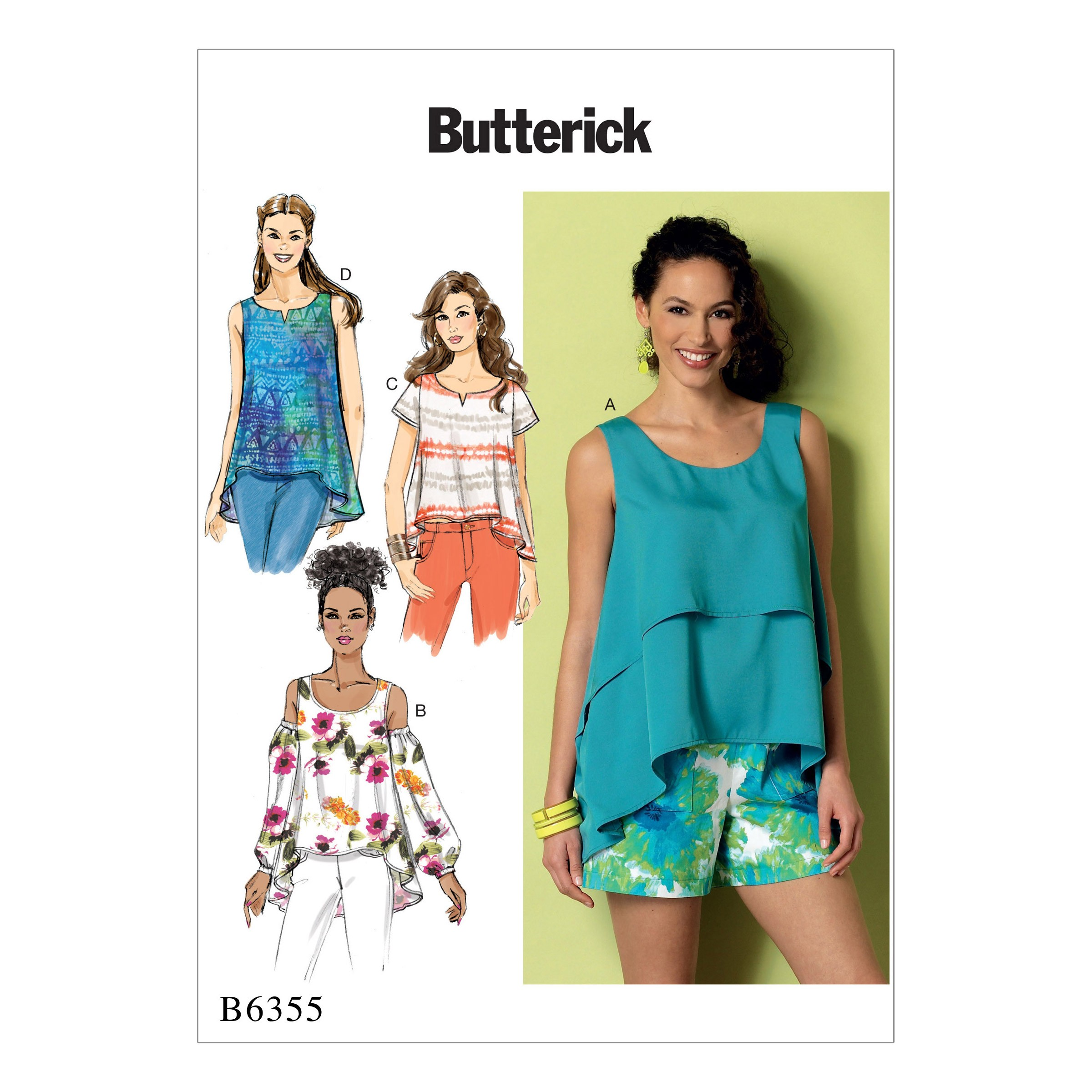 Butterick Sewing Pattern 6355 Misses' Overlay Cold Shoulder or Notch-Neck Tops