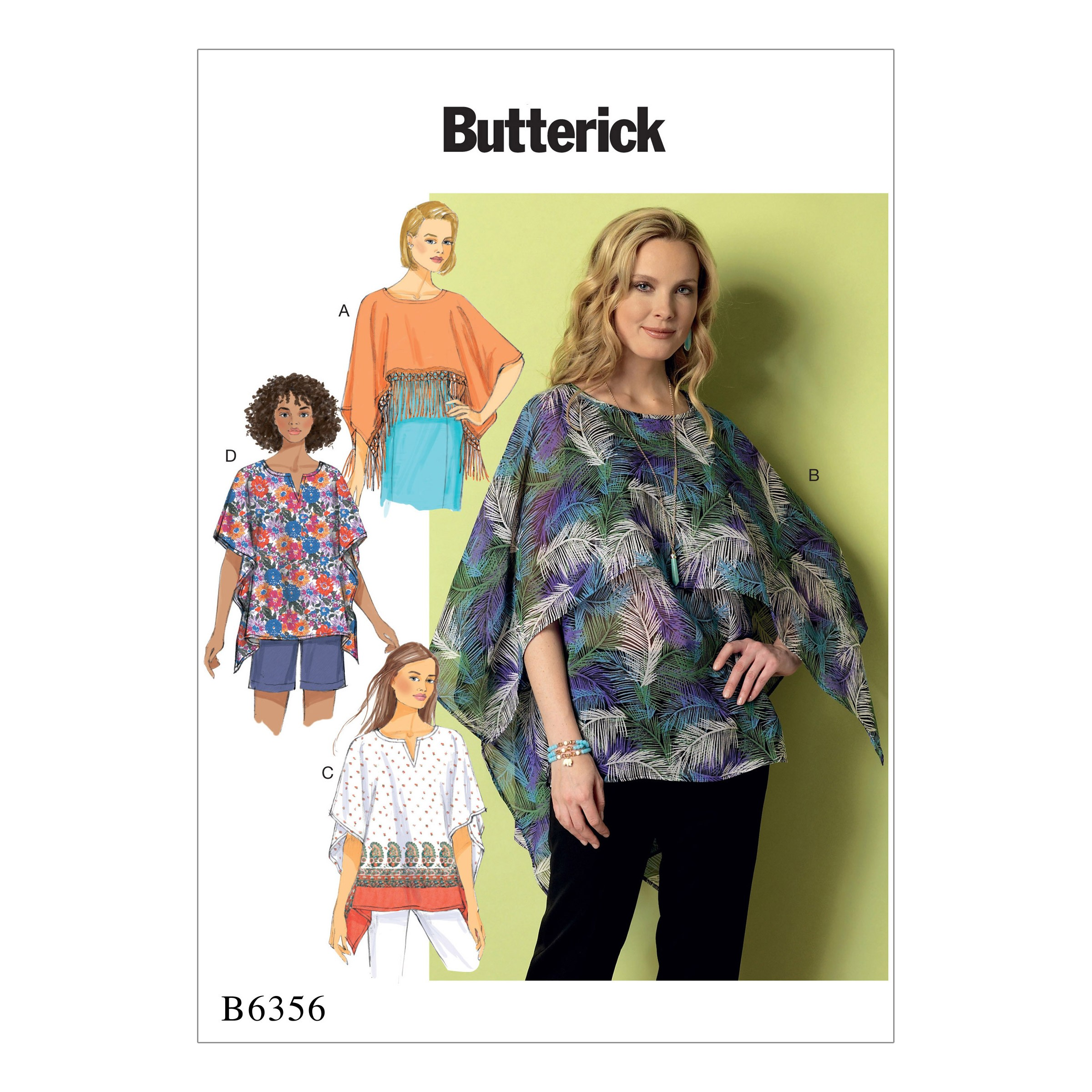 Butterick Sewing Pattern 6356 Misses' Fringe Trim Overlay or Notch Neck Tunics