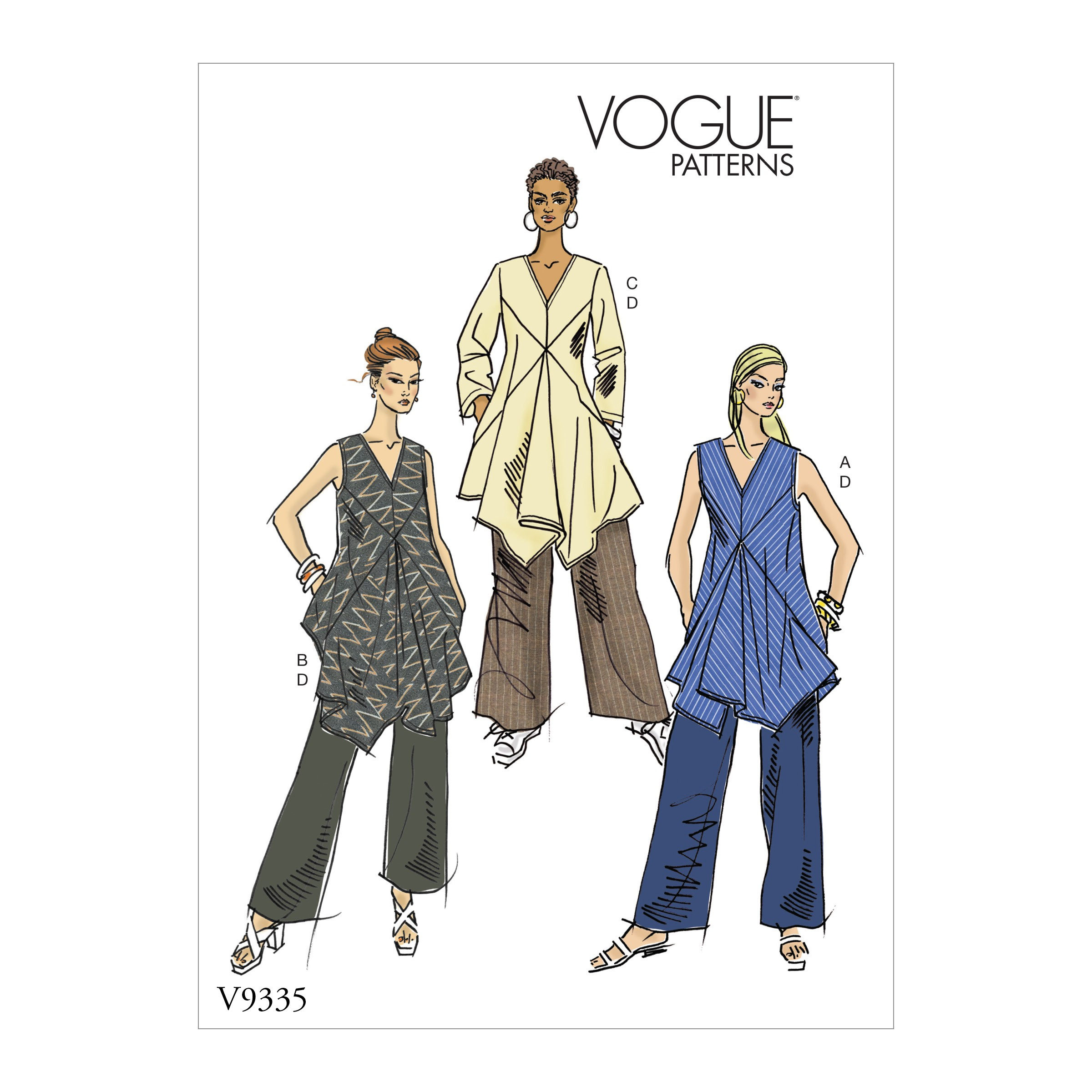 Vogue Sewing Pattern V9335 Women's Misses' Tunic And Trousers