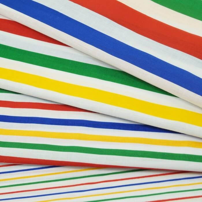 26mm Polycotton Fabric Stripes Rainbow Lines Candy Stripe Multi