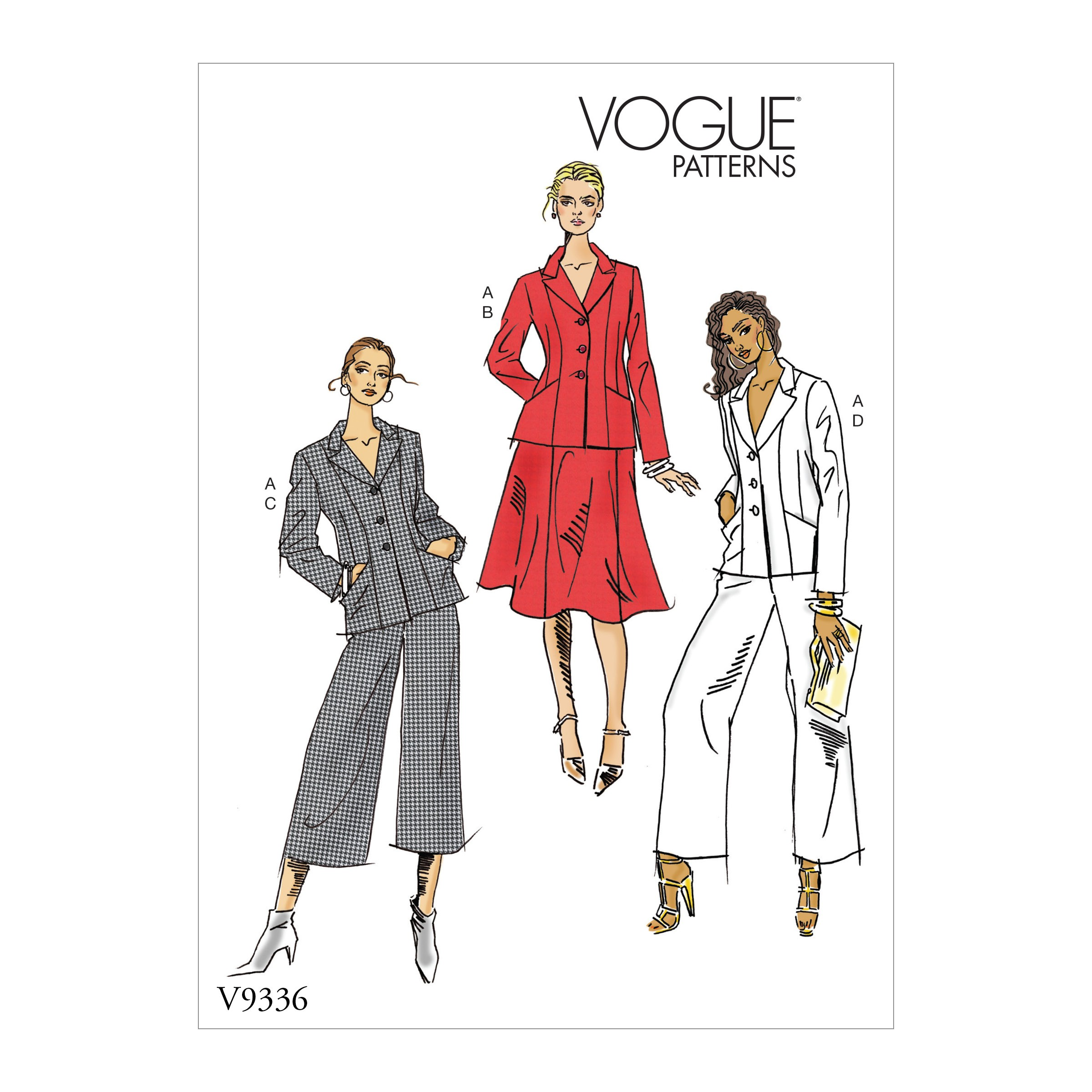 Vogue Sewing Pattern V9336 Women's Petite Jacket Skirt And Trousers
