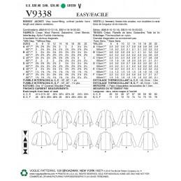 Vogue Sewing Pattern V9338 Women's Lightweight Jacket Blazer