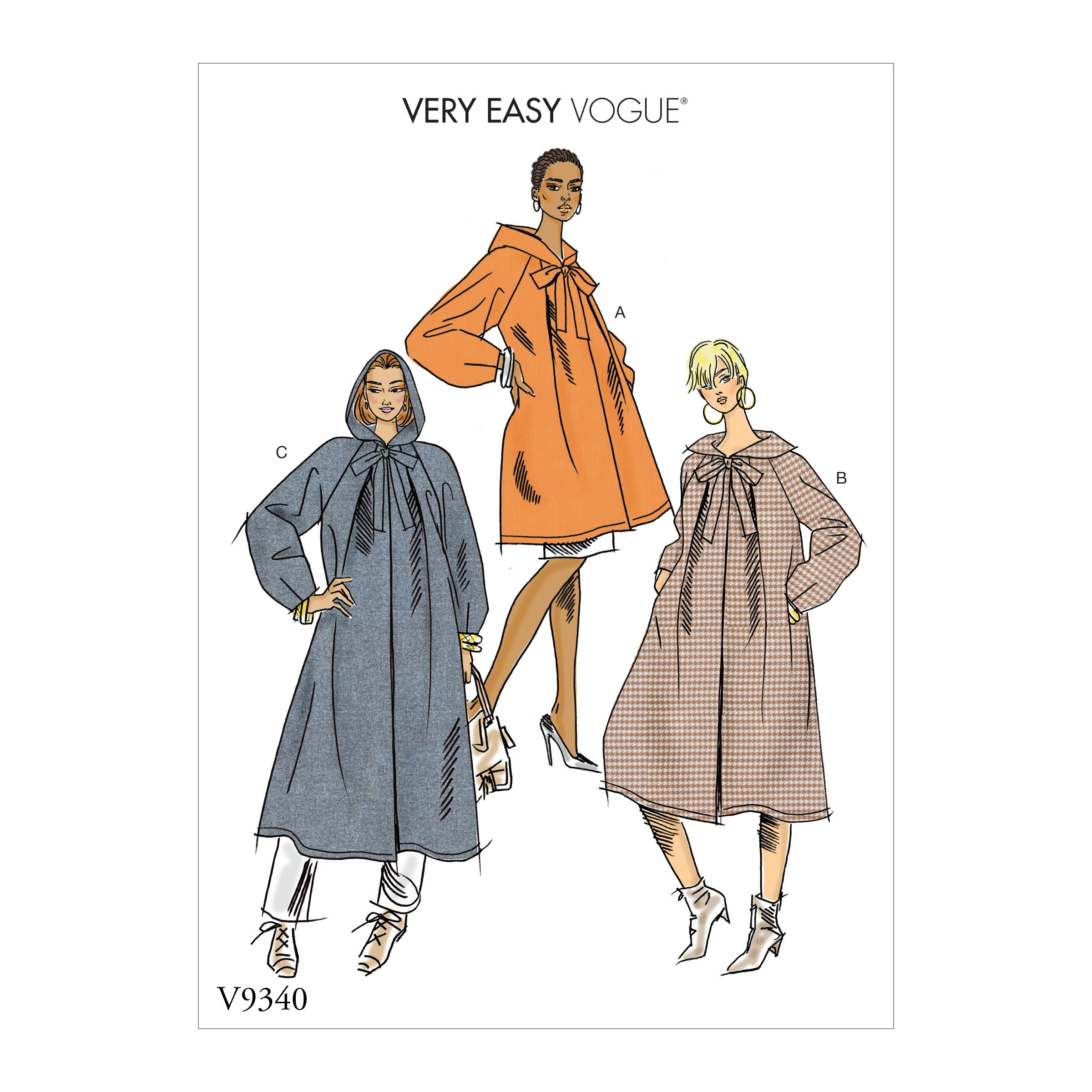 Vogue Sewing Pattern V9340 Women's Coat With Loose Fitted Hoods