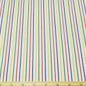 2mm Polycotton Fabric Stripes Rainbow Lines Candy Stripe Multi