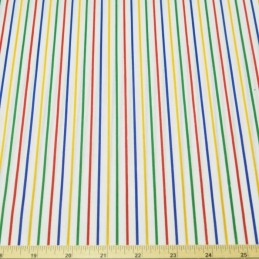 2mm Polycotton Fabric Stripes Rainbow Lines Candy Stripe Multi