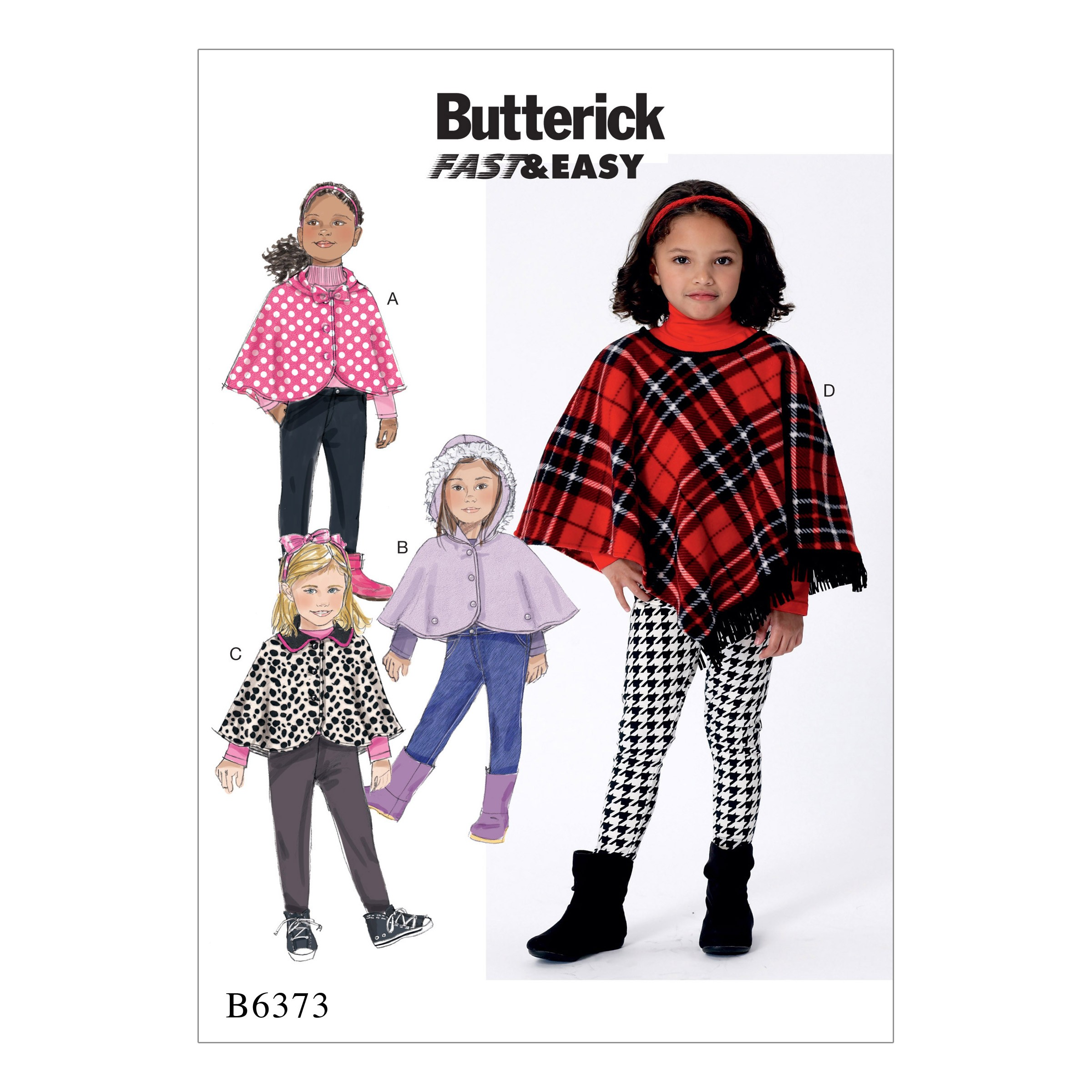 Butterick Sewing Pattern 6373 Children's Girls Capes & Poncho with Hood