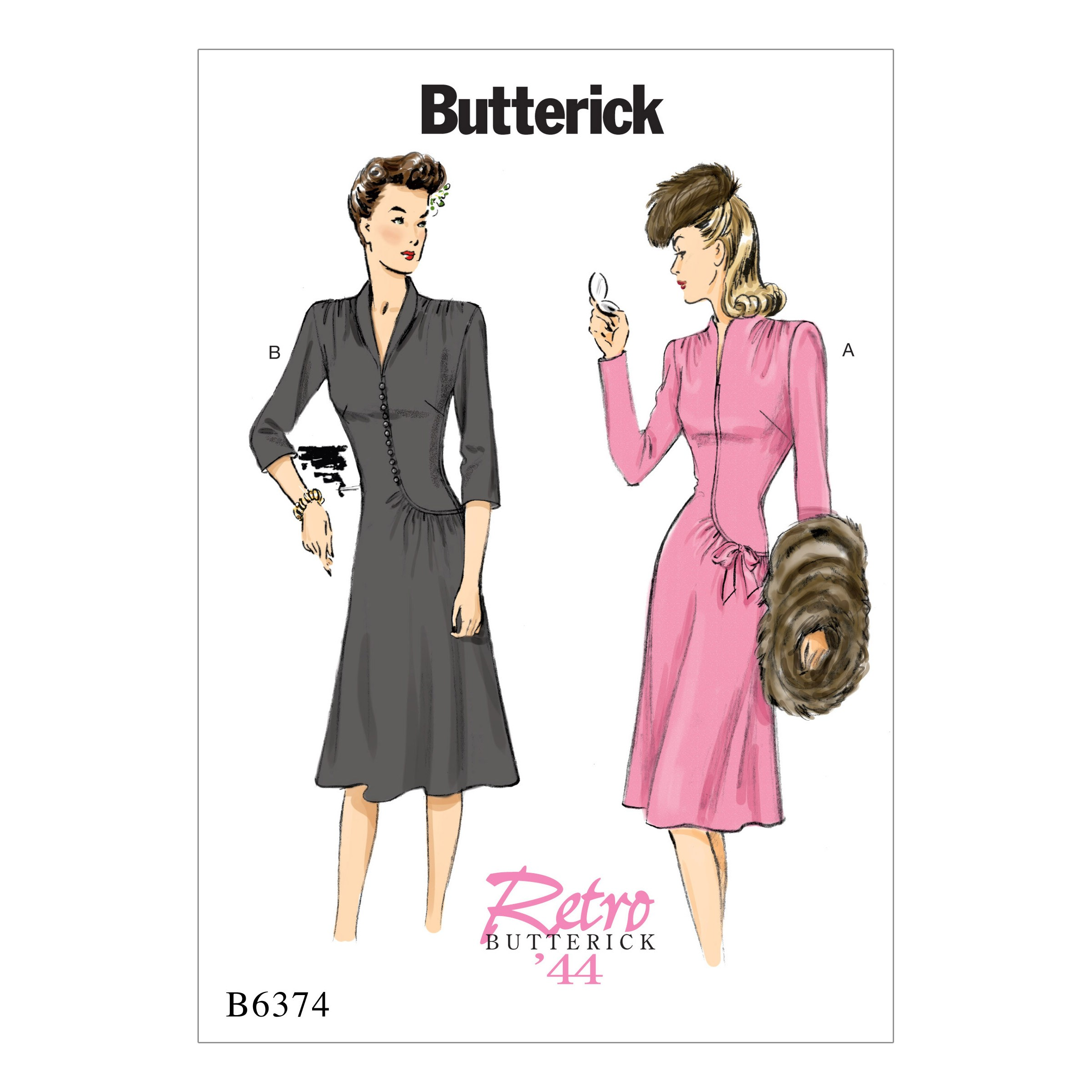 Butterick Sewing Pattern 6374 Misses' Swan Neck or Shawl Collar Dress