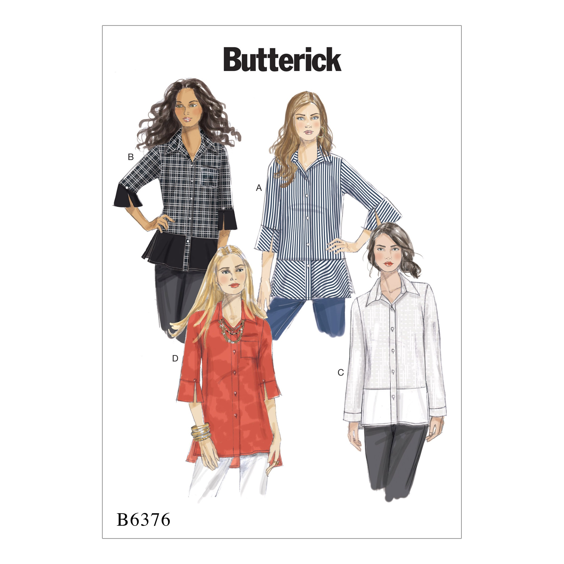 Butterick Sewing Pattern 6376 Misses' Button Down Shirt with Side Slits